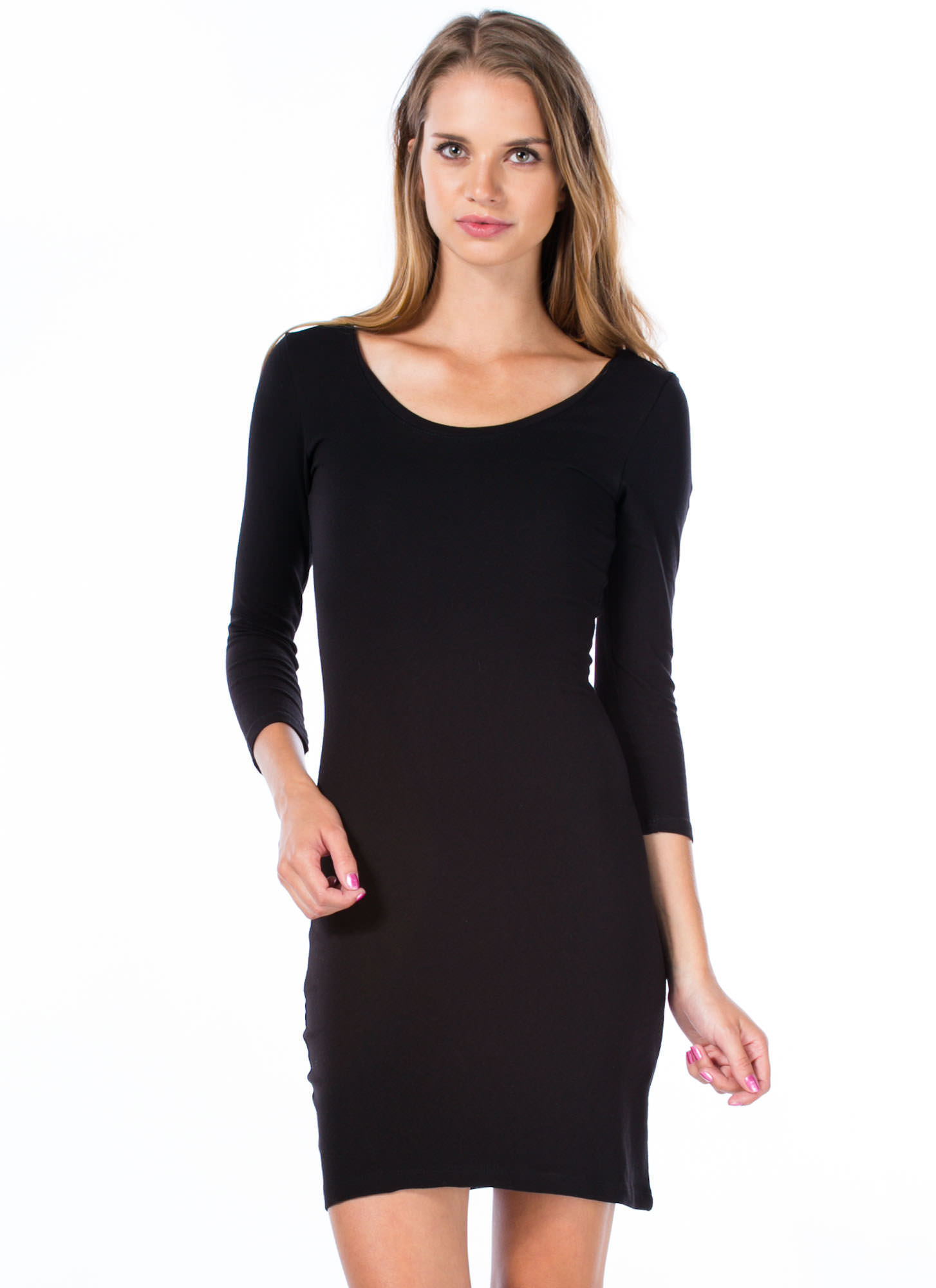 Perfect Basic Scooped Bodycon Dress BLACK