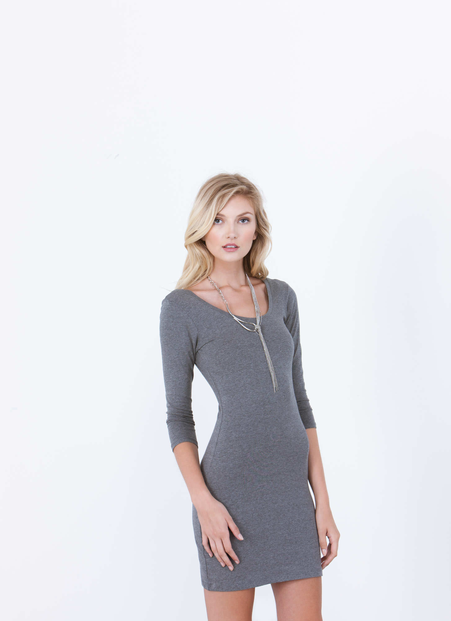 Perfect Basic Scooped Bodycon Dress GREY