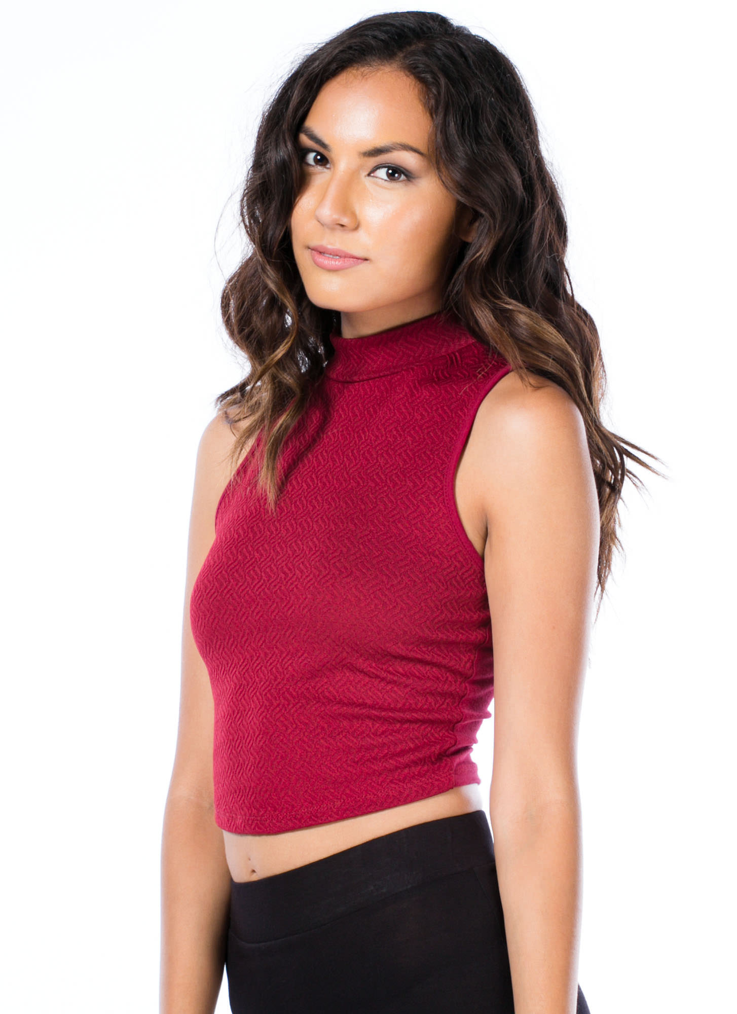 Textured Mockneck Cropped Tank BURGUNDY
