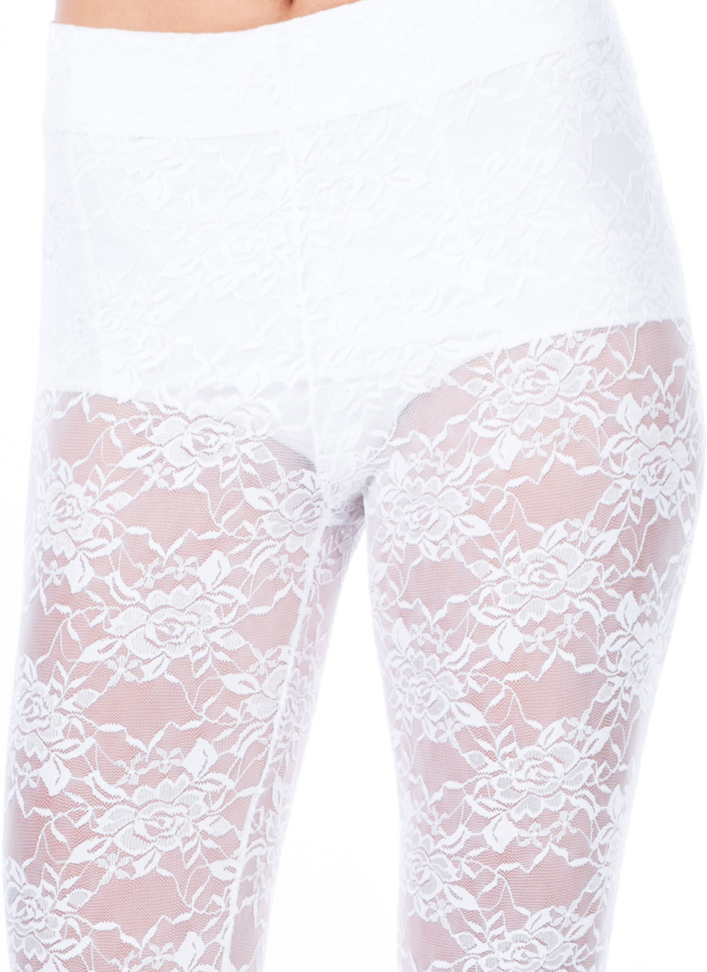 All Laced Up Sheer Leggings WHITE