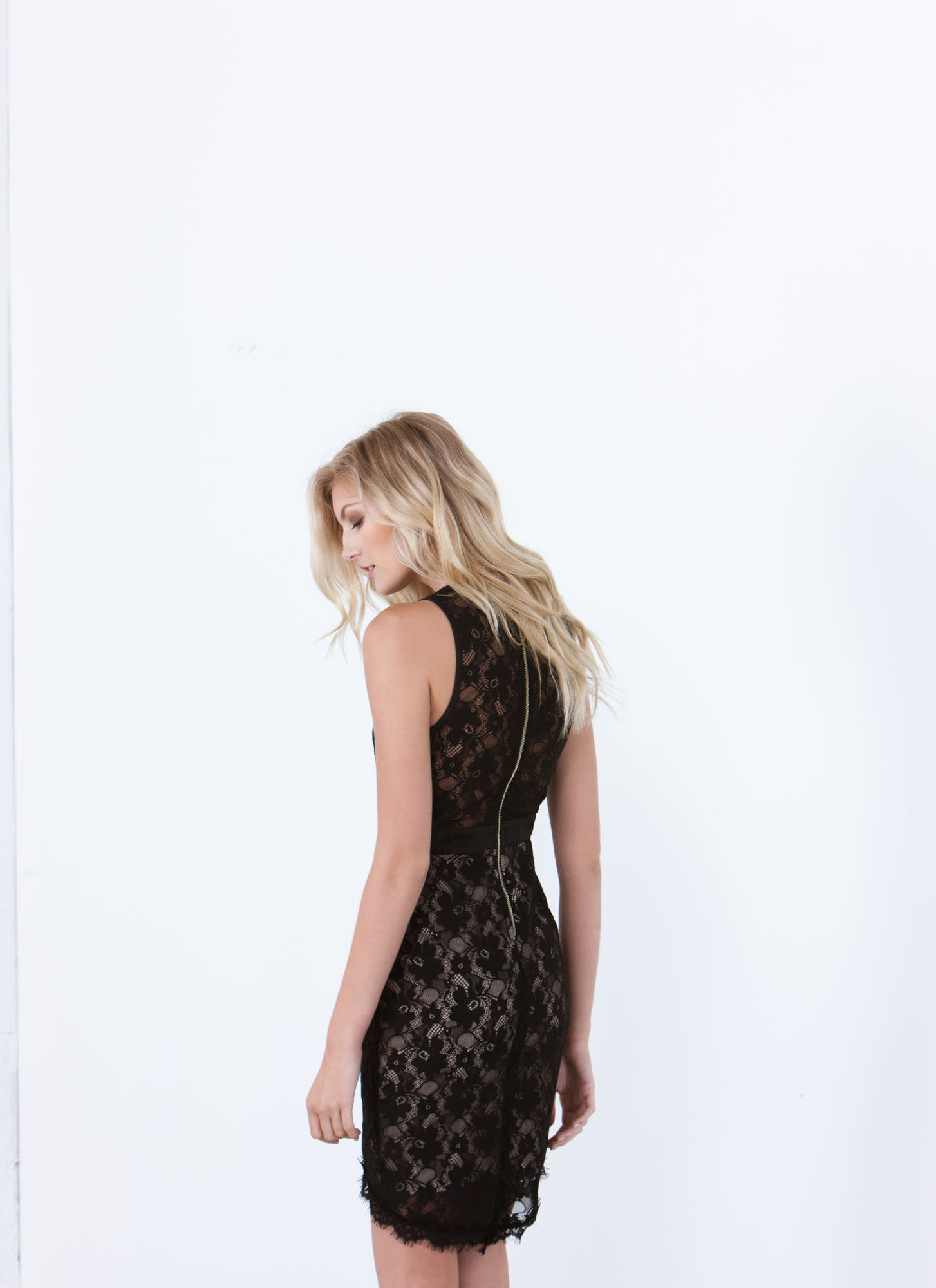 Lace Stay Together Floral Overlay Dress BLACK
