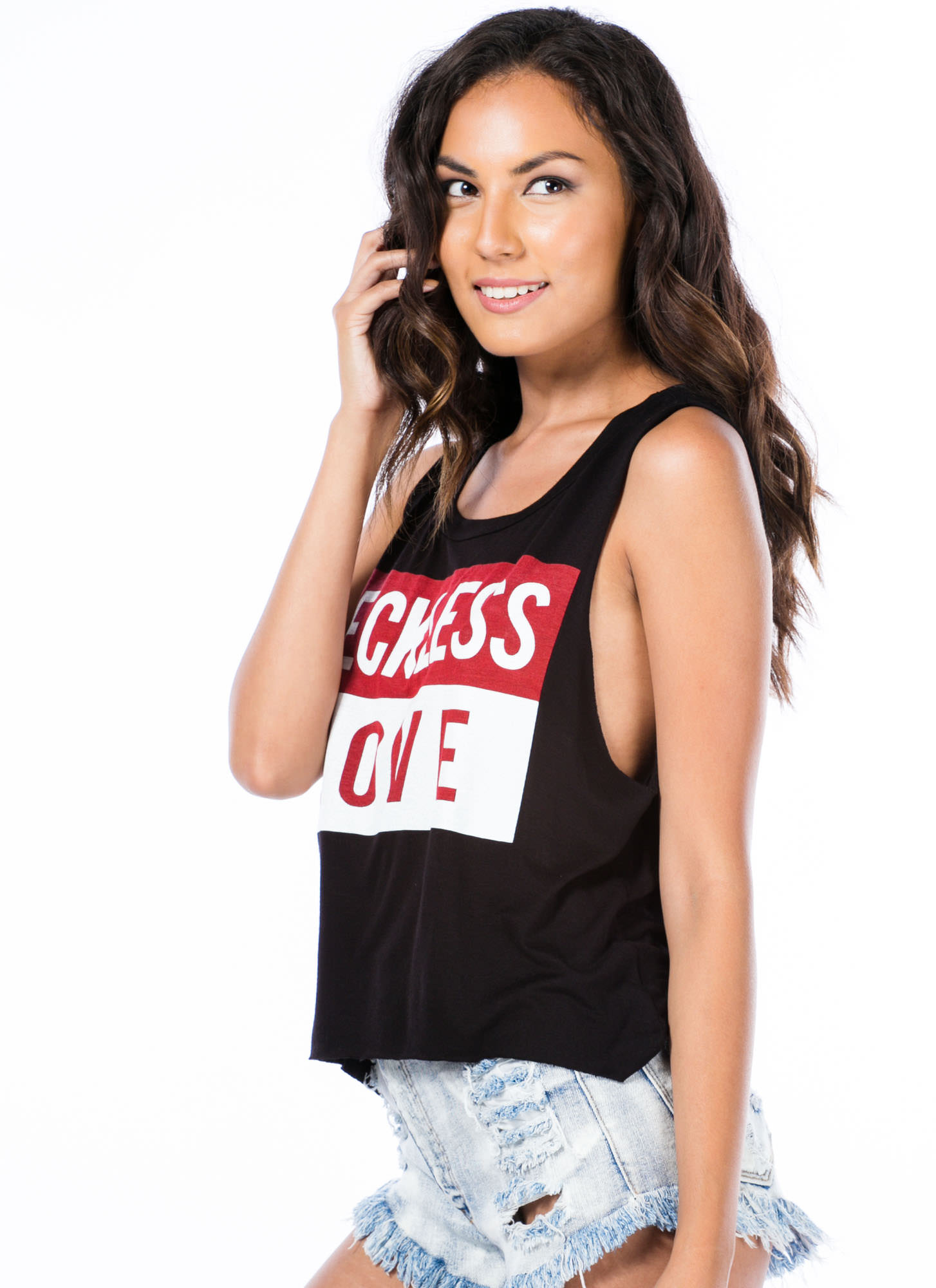 Reckless Love Story Muscle Tank Top BLACK