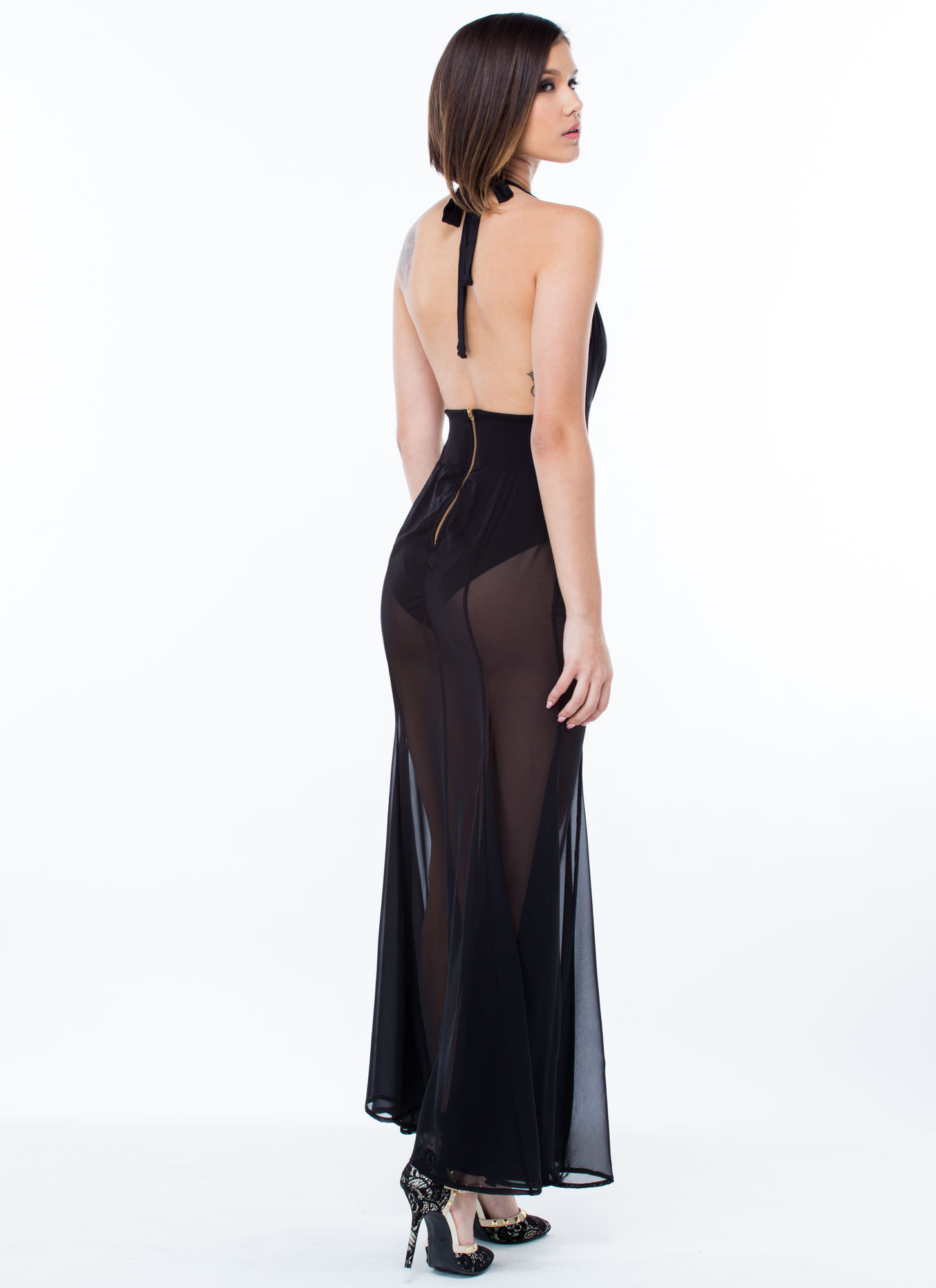 Sheer Vision Halter Maxi Dress BLACK