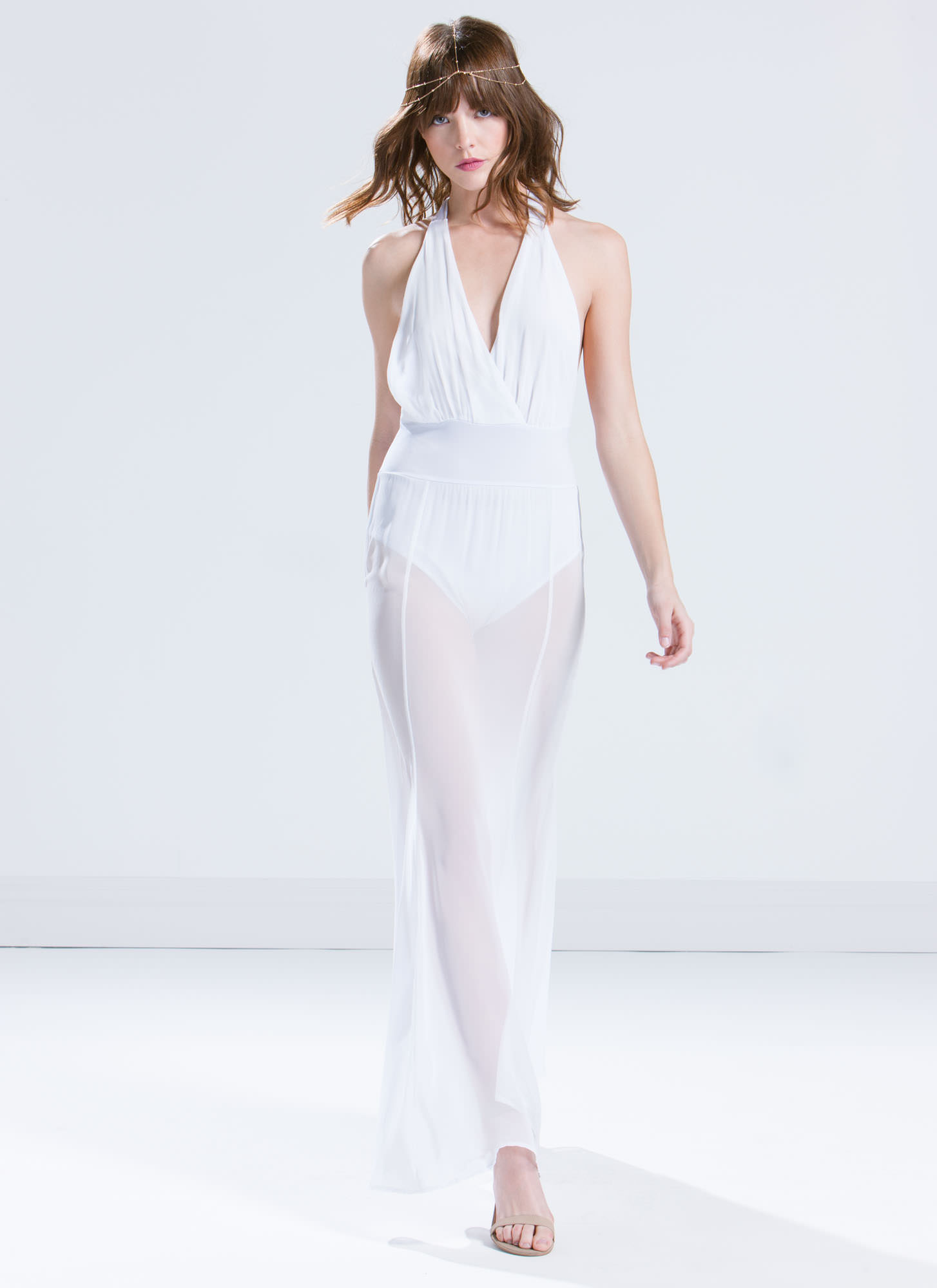 Sheer Vision Halter Maxi Dress WHITE