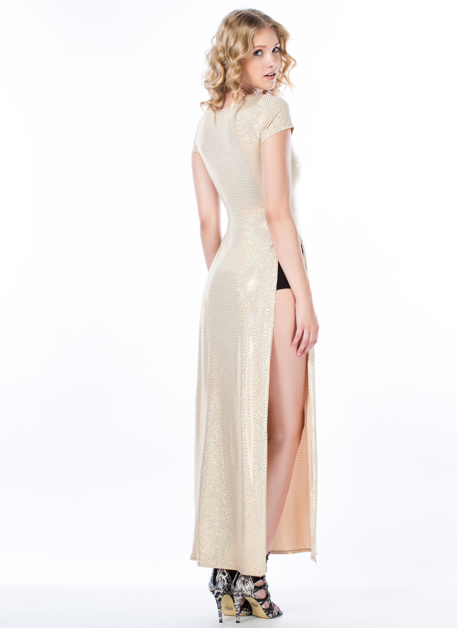 Jane 'N The Hologram Double Slit Maxi Dress GOLD