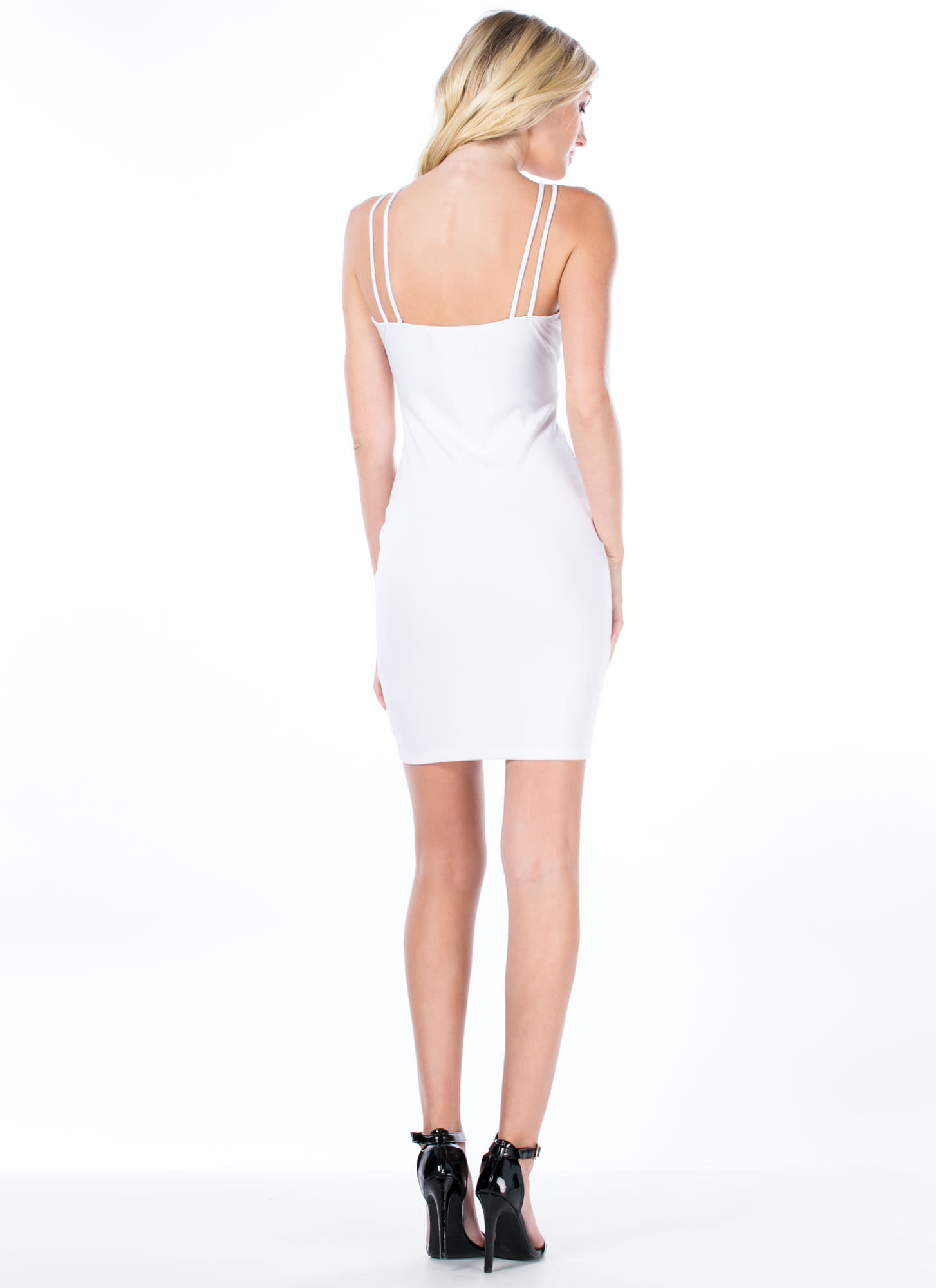 Crossing Paths Strappy Bodycon Dress WHITE