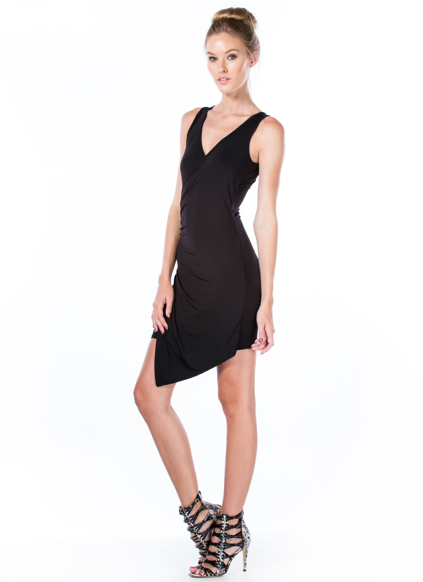 Overlapping Ruched Bodycon Dress BLACK