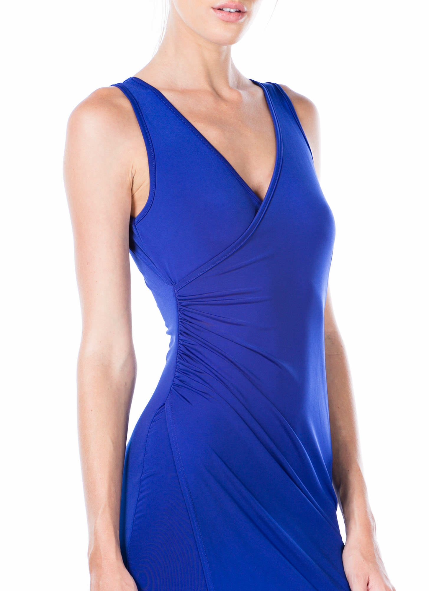 Overlapping Ruched Bodycon Dress RYLBLUE
