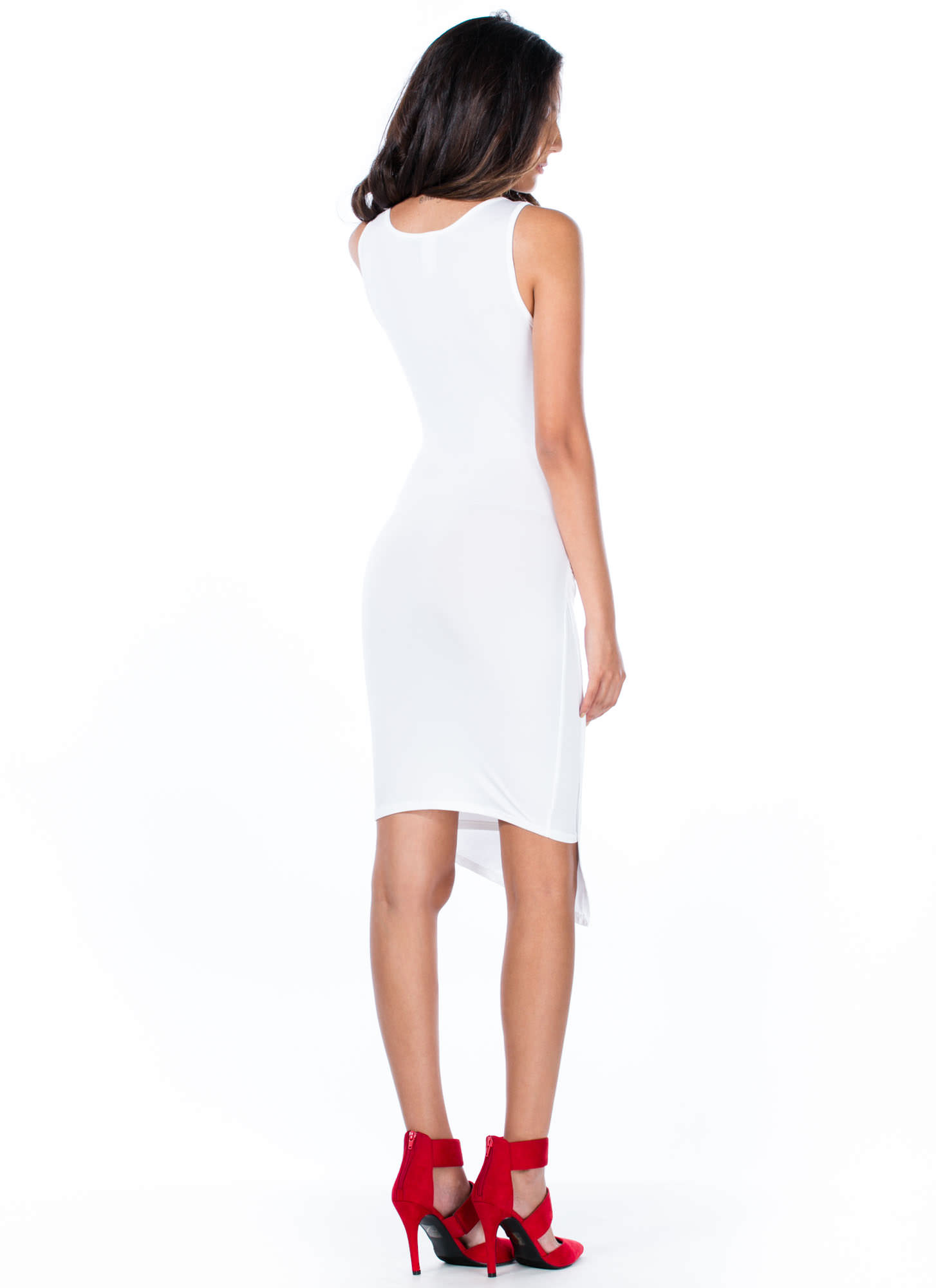Overlapping Ruched Bodycon Dress WHITE