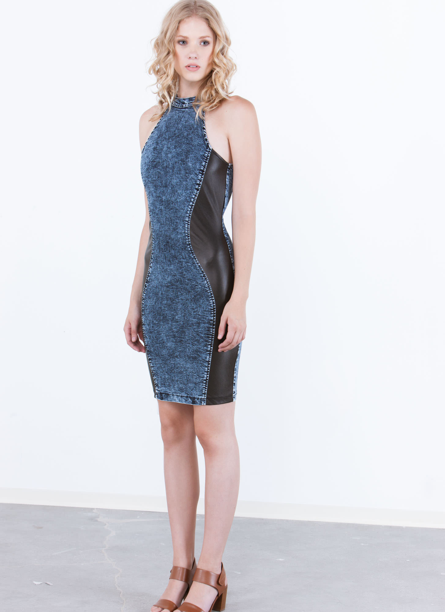 Mixed Media Denim Bodycon Dress BLUE