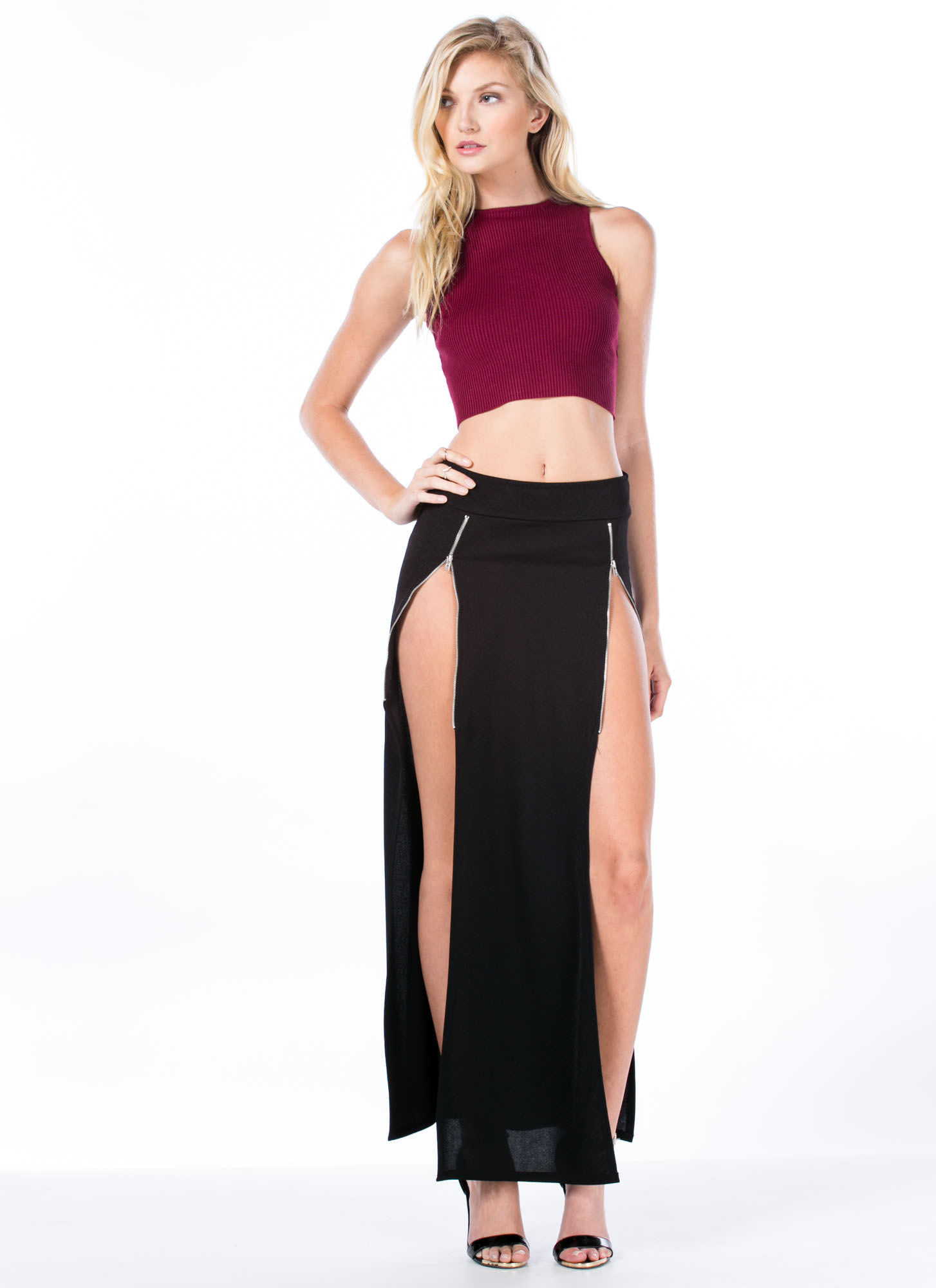 Rib Knit Cropped Top BURGUNDY