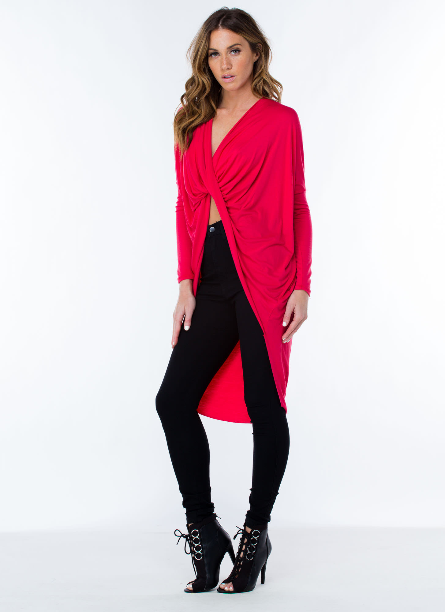 Get Twisted High-Low Top CORAL
