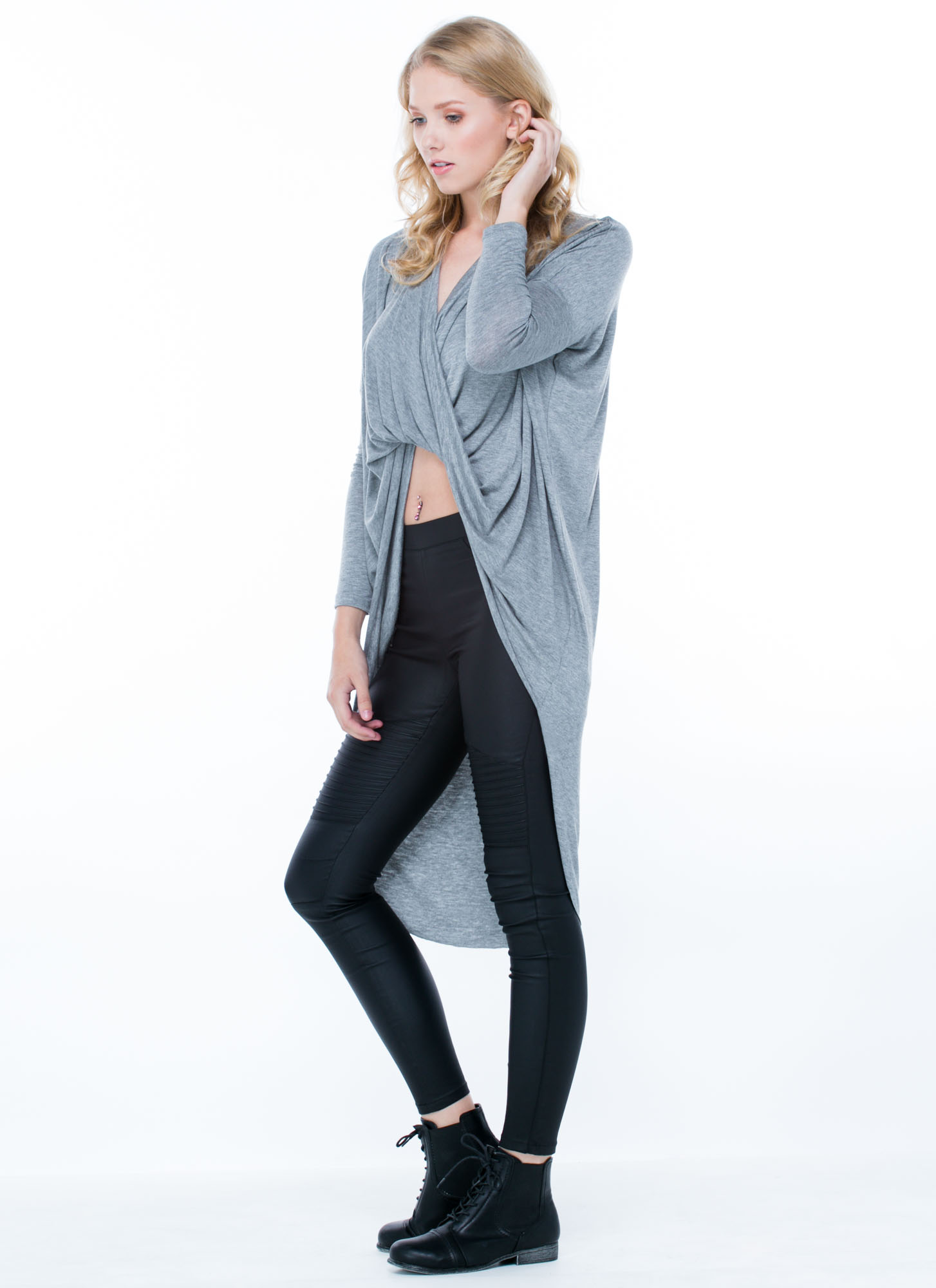 Get Twisted High-Low Top HGREY