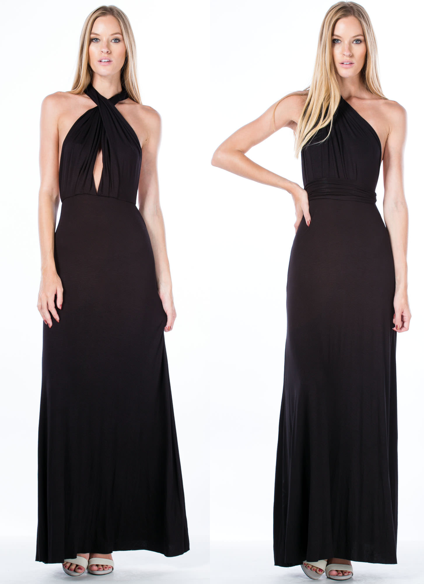 Chic-Shifter Convertible Maxi Dress BLACK