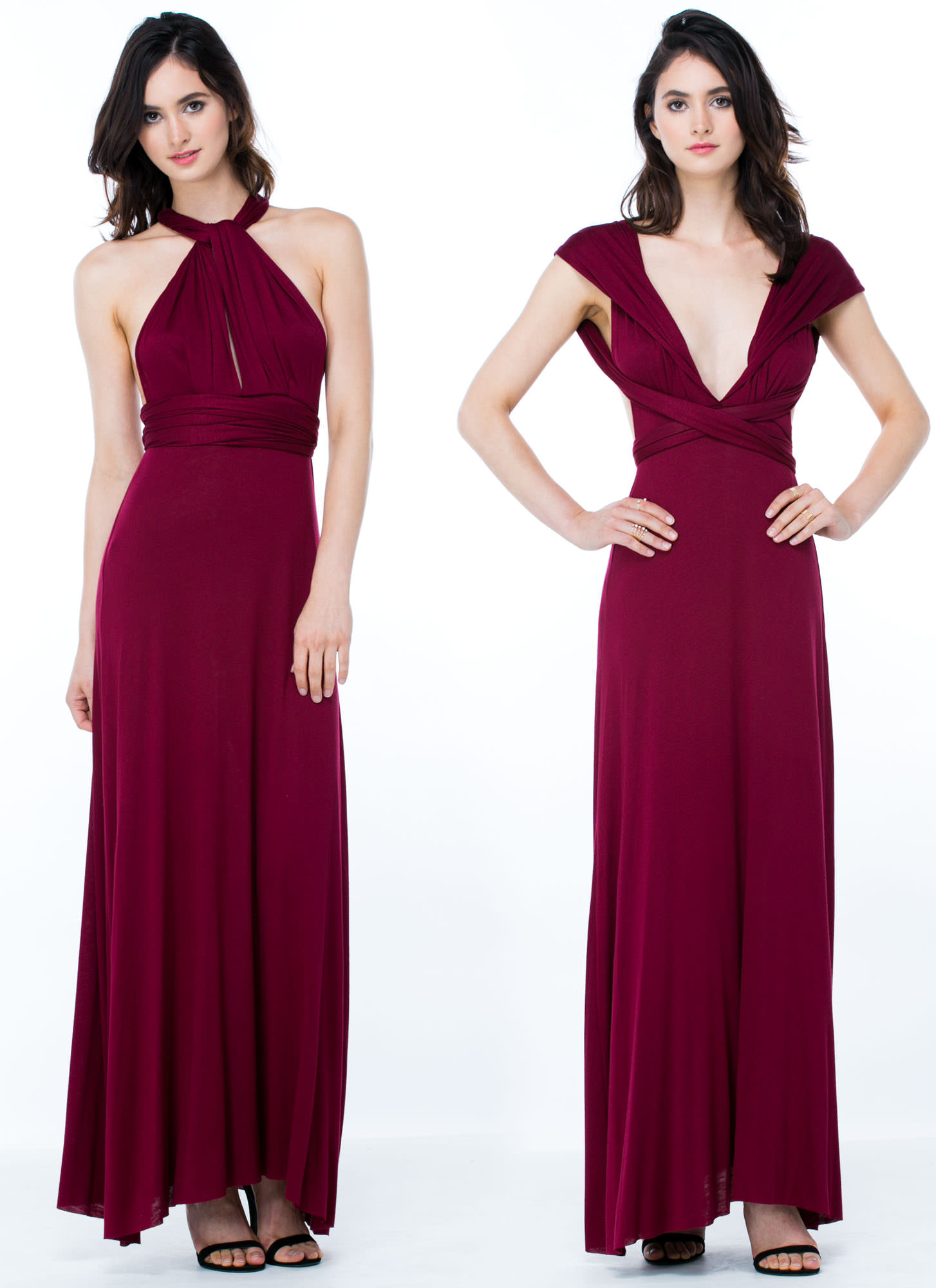 Chic-Shifter Convertible Maxi Dress BURGUNDY