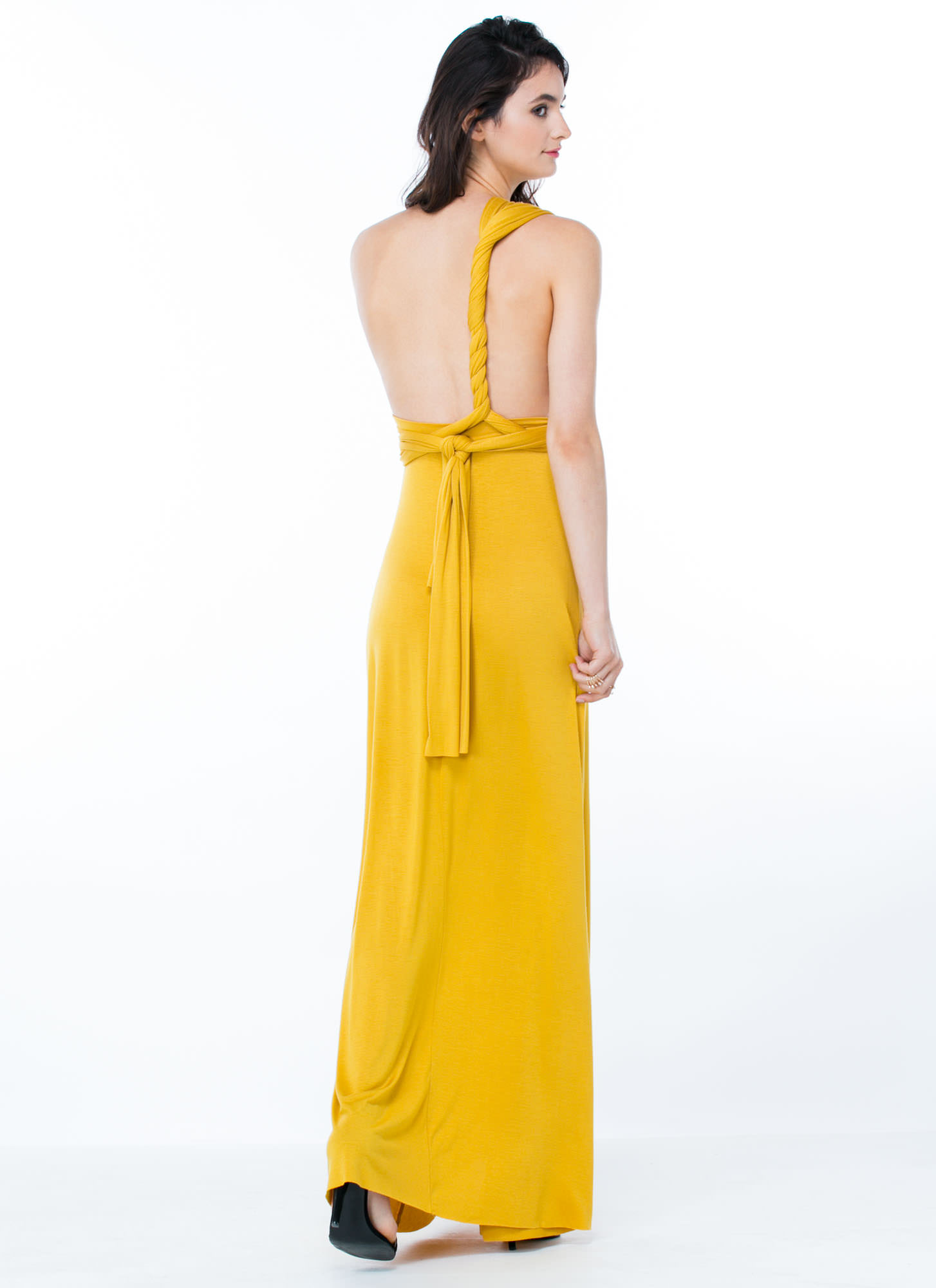 Chic-Shifter Convertible Maxi Dress MUSTARD