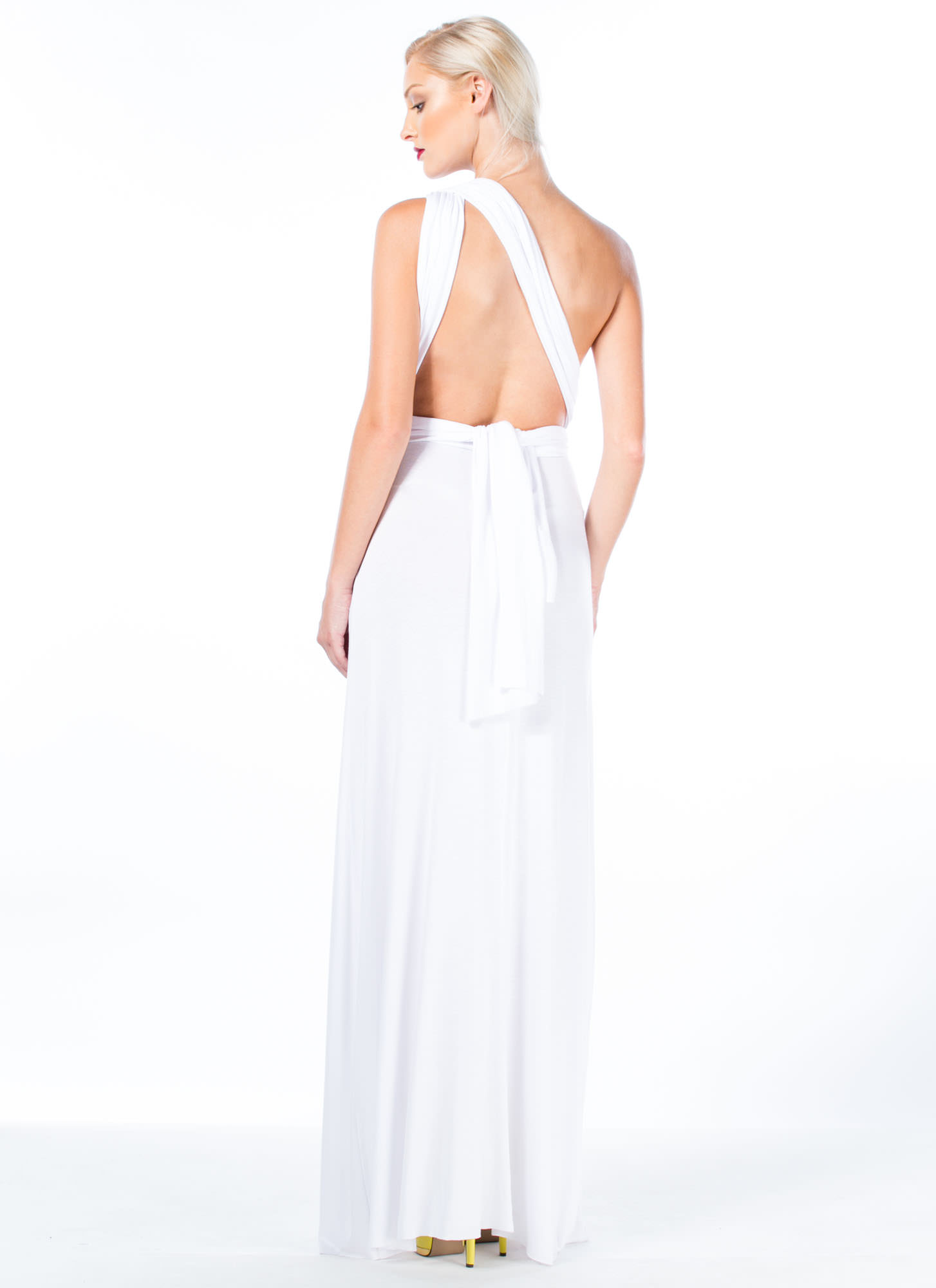Chic-Shifter Convertible Maxi Dress WHITE