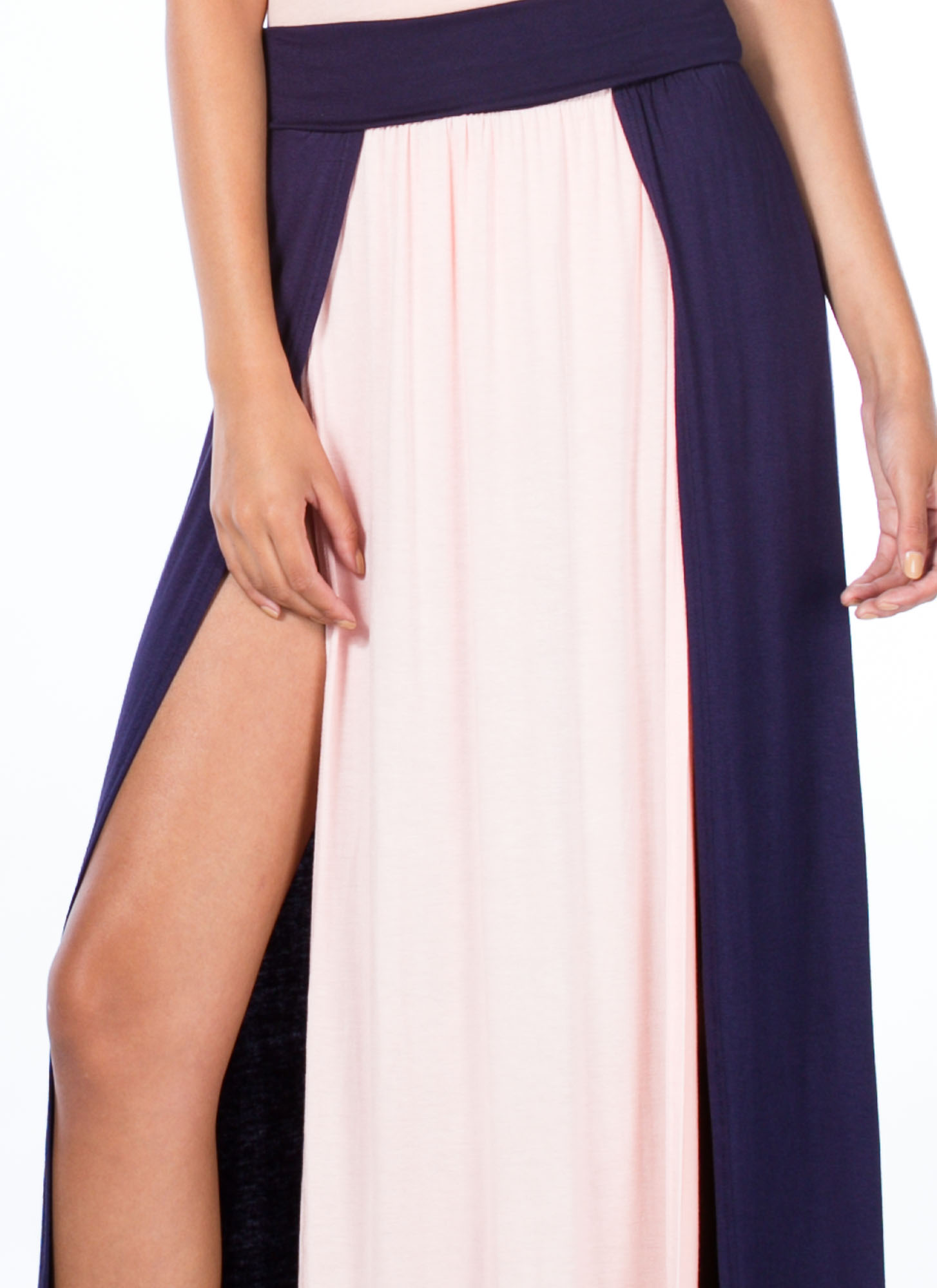 Double Slit Colorblock Maxi Skirt NAVYBLUSH
