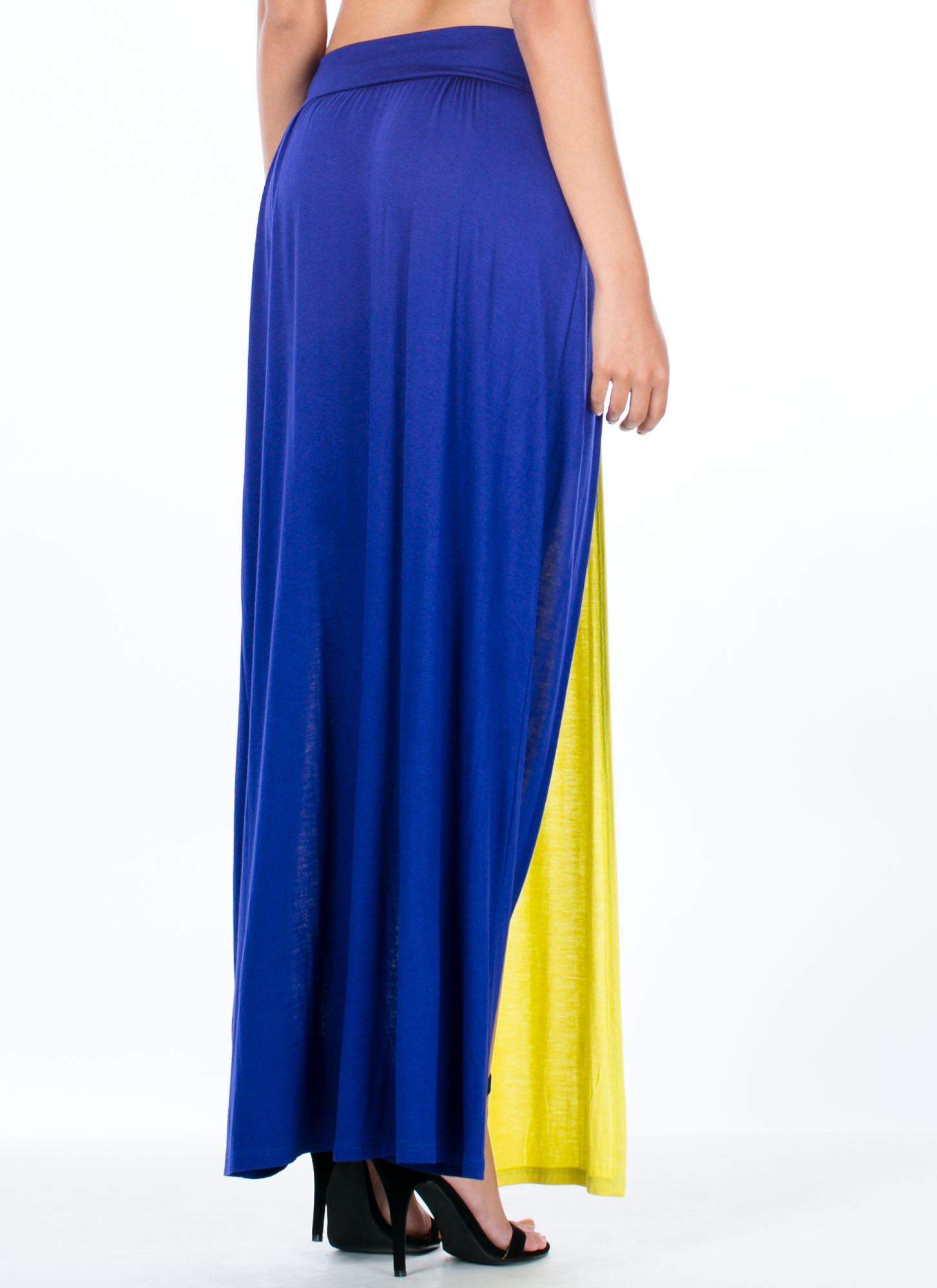 Double Slit Colorblock Maxi Skirt ROYALCITRON