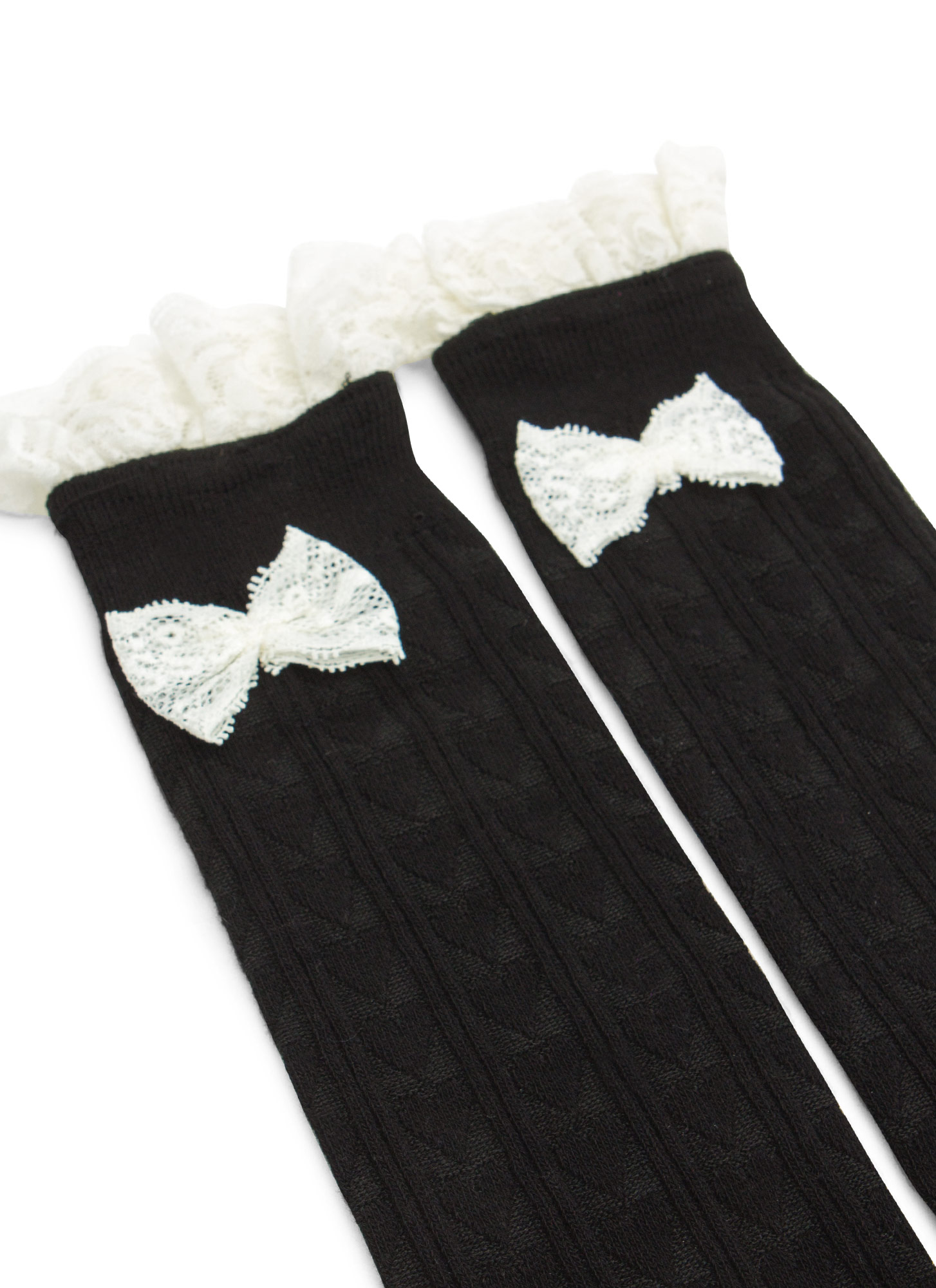 Lace Accent Heart Knit Knee-High Socks BLACK