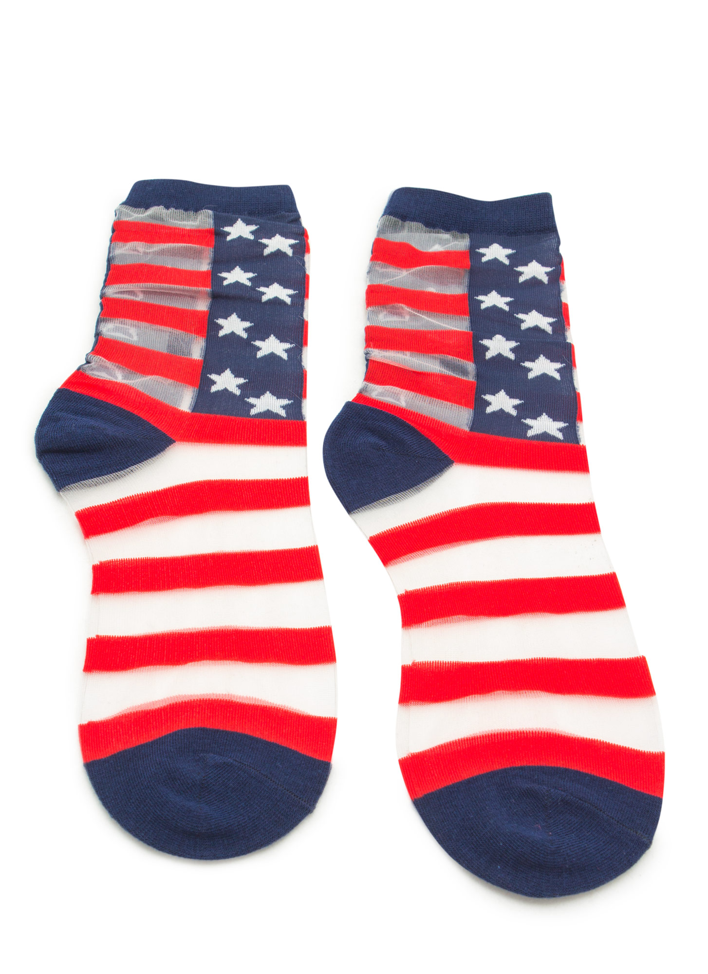 Sheer Striped Mesh American Flag Socks NAVYRED