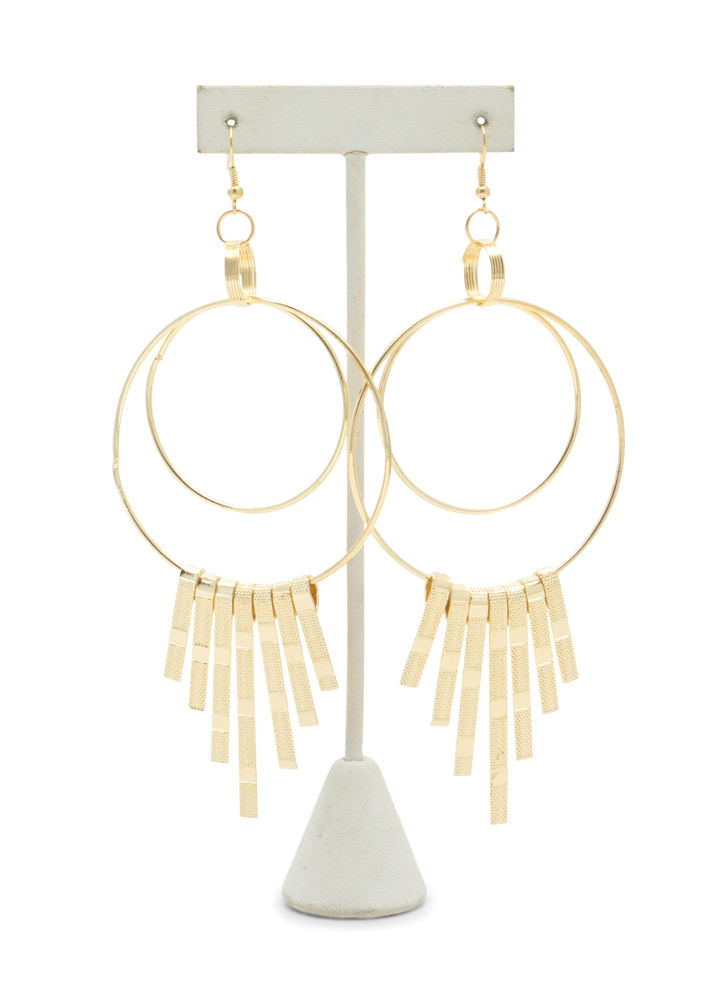 Triple Hoop 'N Cascading Fringe Earrings GOLD
