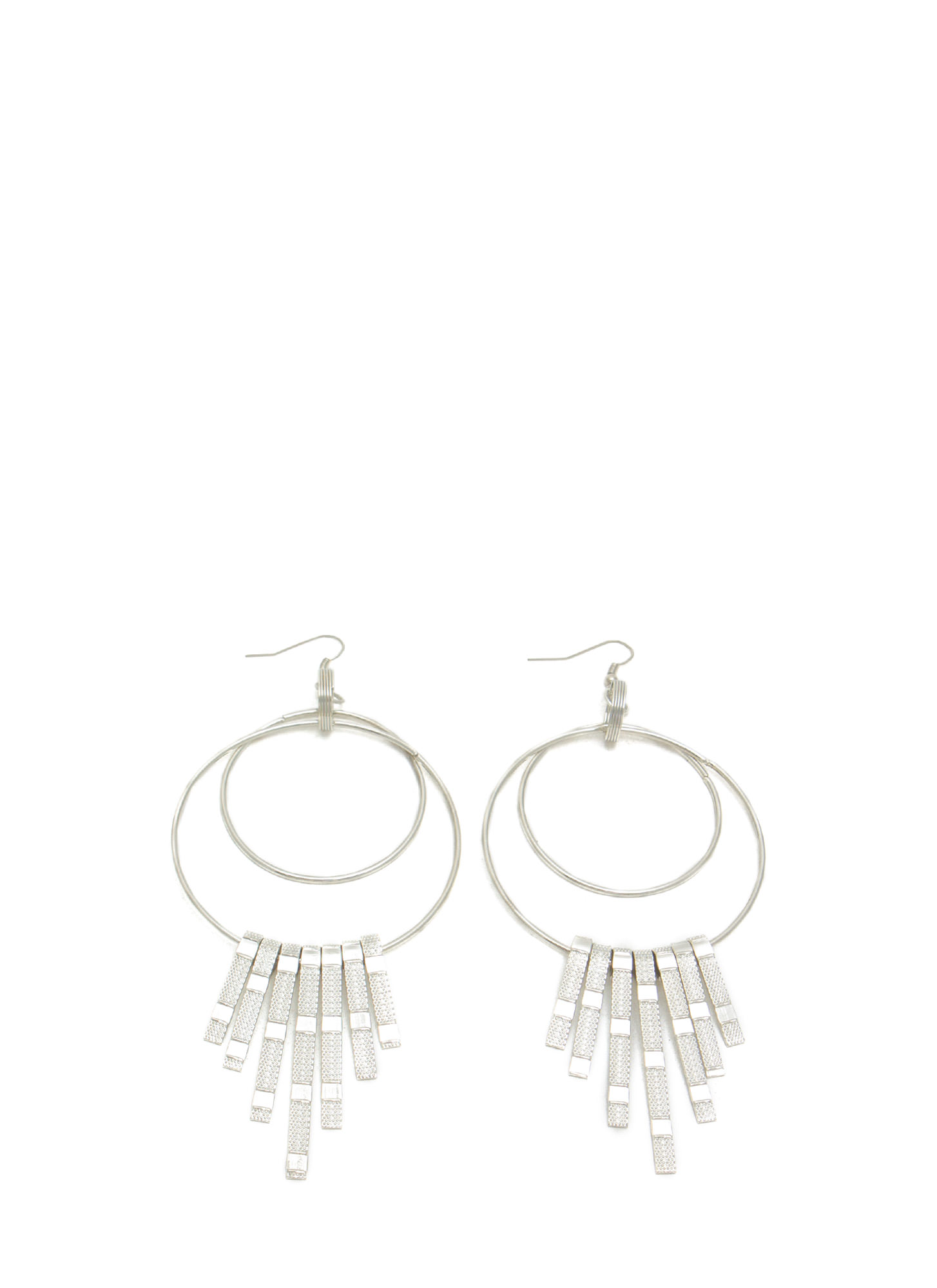 Triple Hoop 'N Cascading Fringe Earrings SILVER
