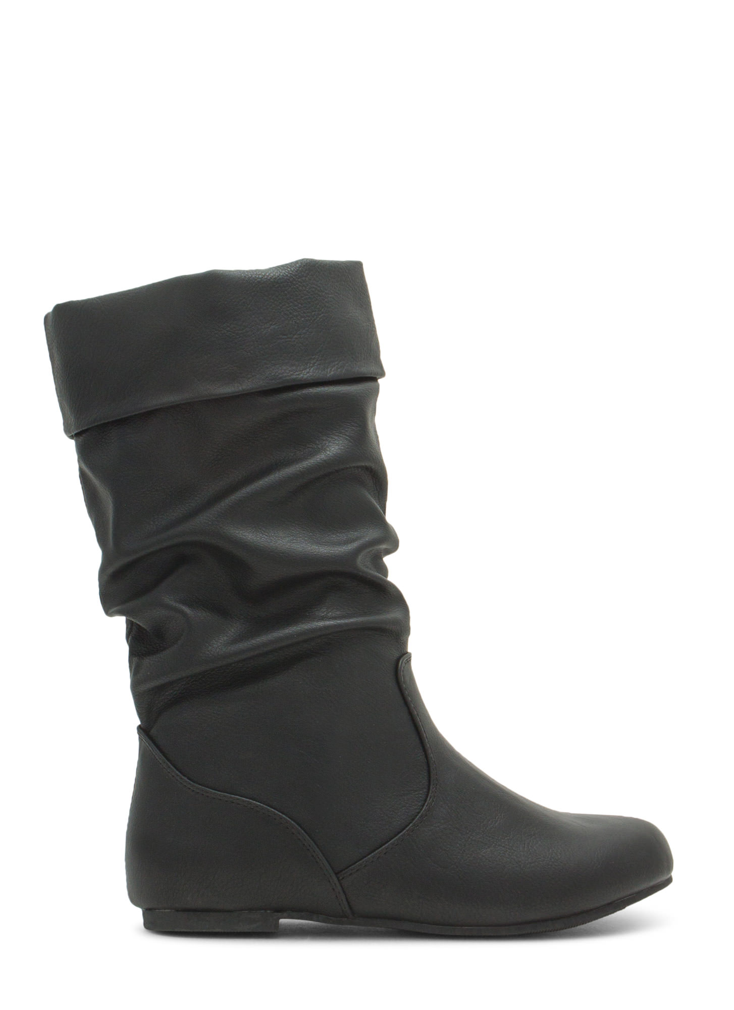 Wonder As U Wander Faux Leather Boots BLACK