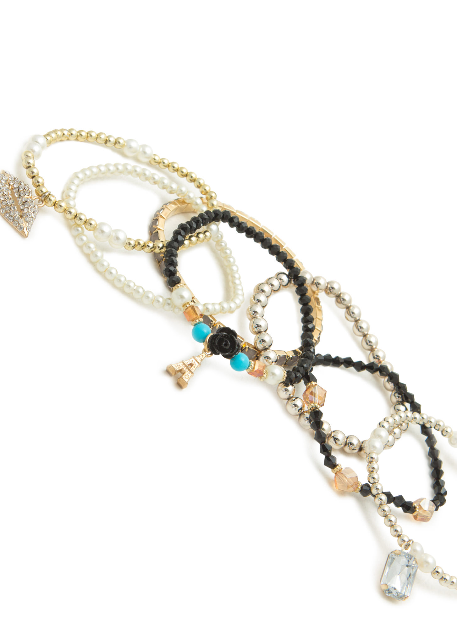 Beaded 'N Bejeweled Paris Charm Bracelet Set BLACKGOLD