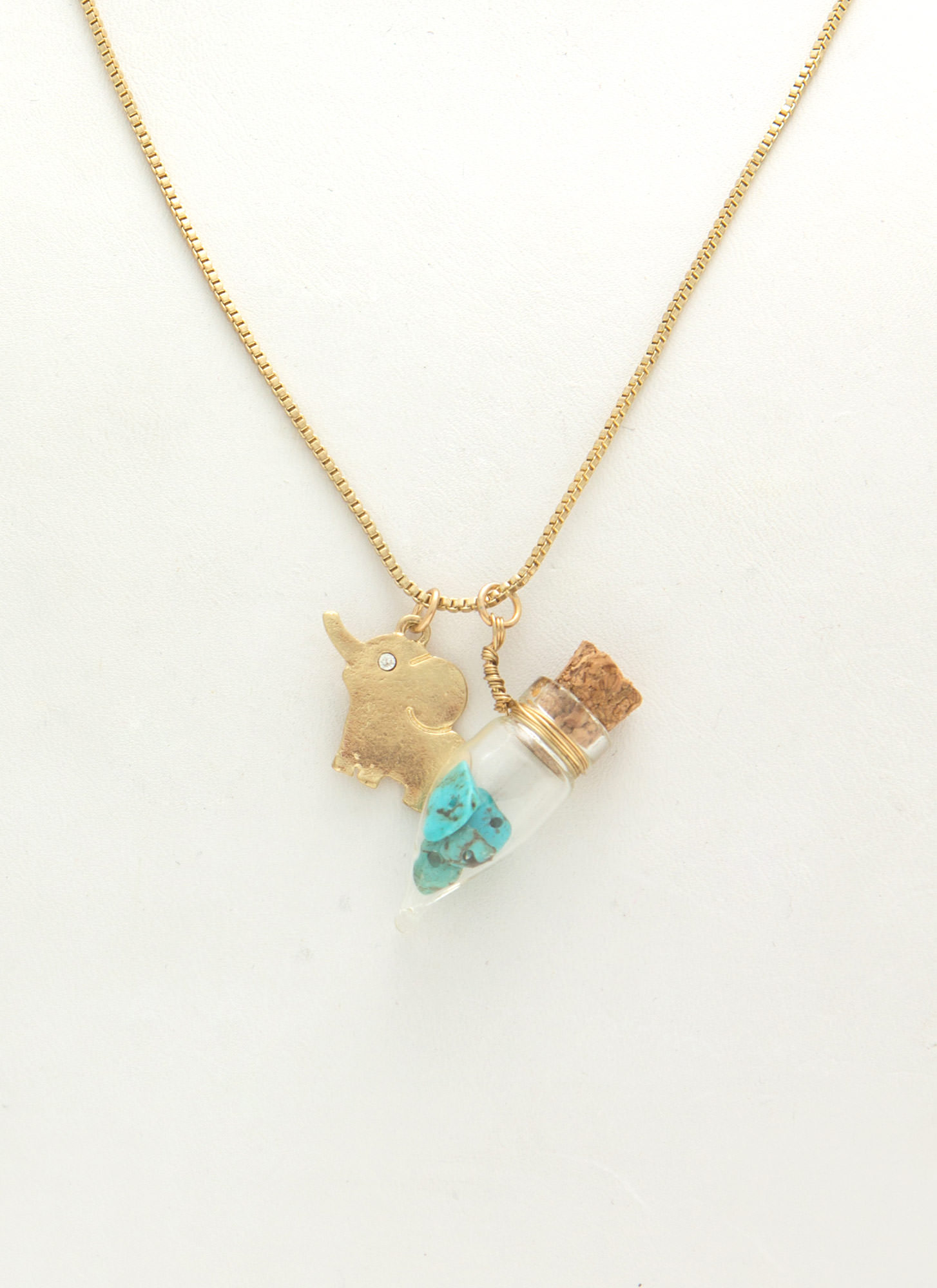 Elephant Charm Capsule Necklace Set GOLDTURQ