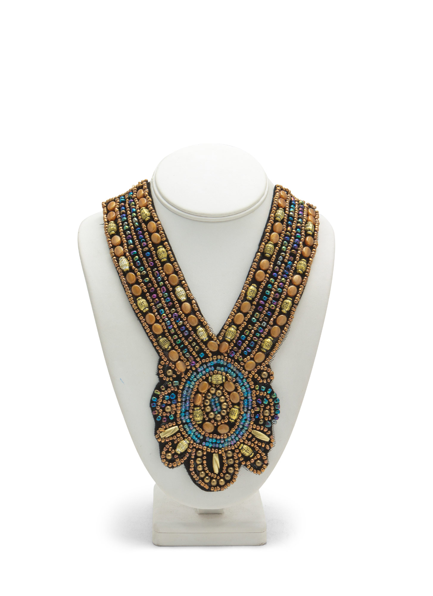 Beaded Felt Medal Bib Necklace BROWNMULTI