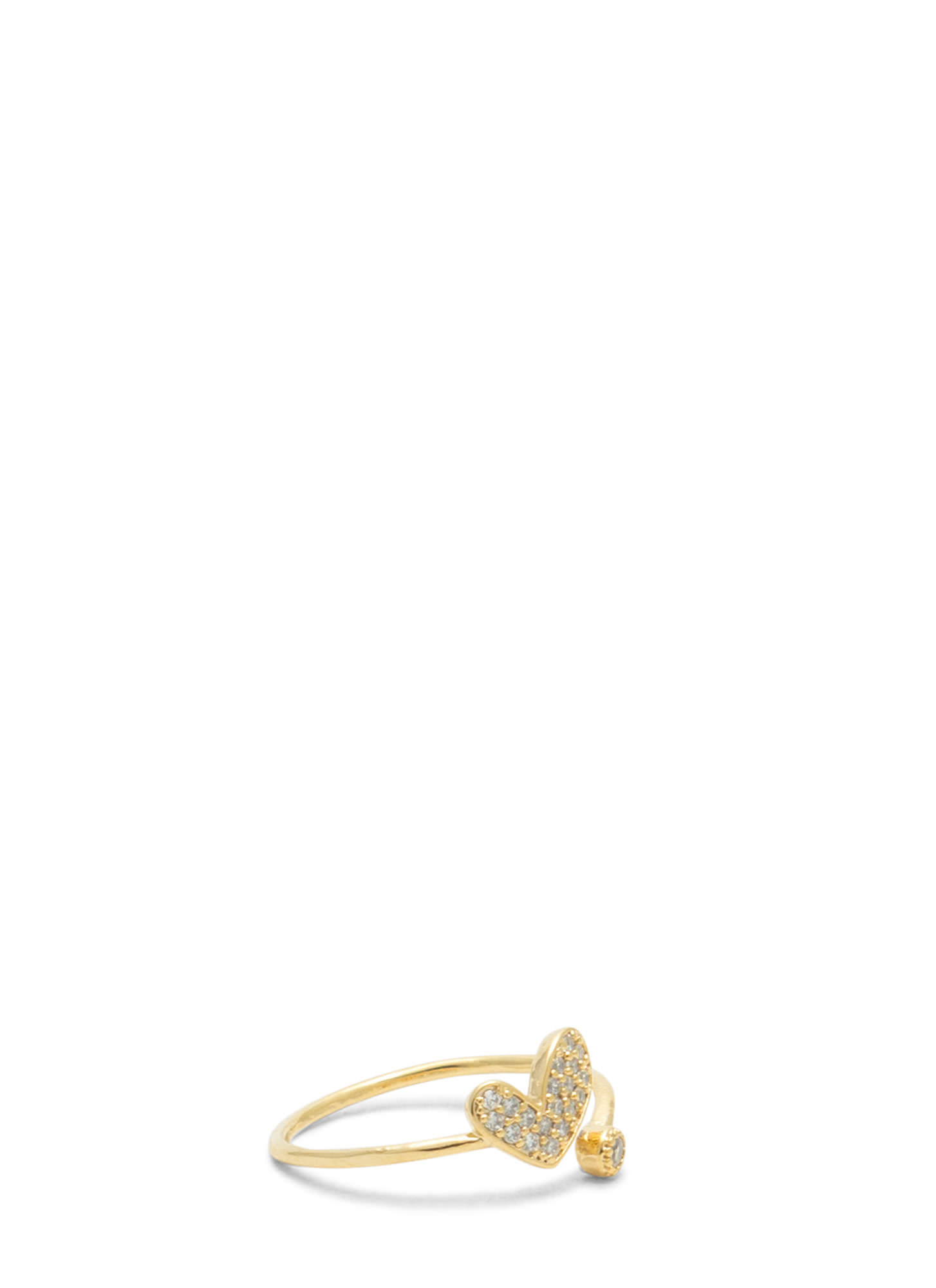 Asymmetrical Heart Jeweled Ring GOLD