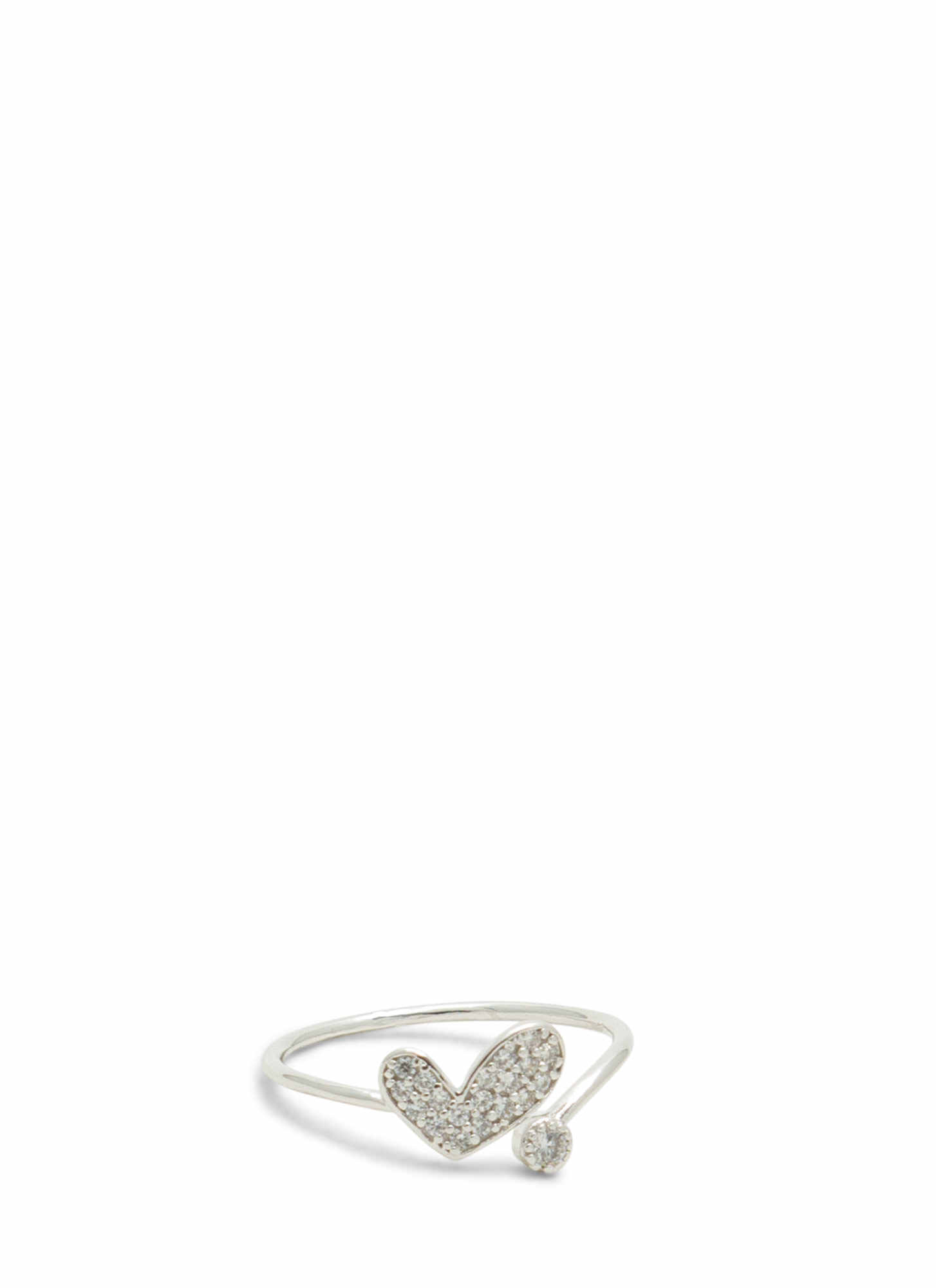 Asymmetrical Heart Jeweled Ring SILVER