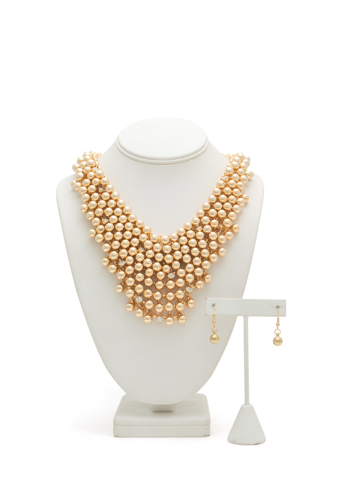 Ball Hard Chain Mesh Necklace Set GOLD