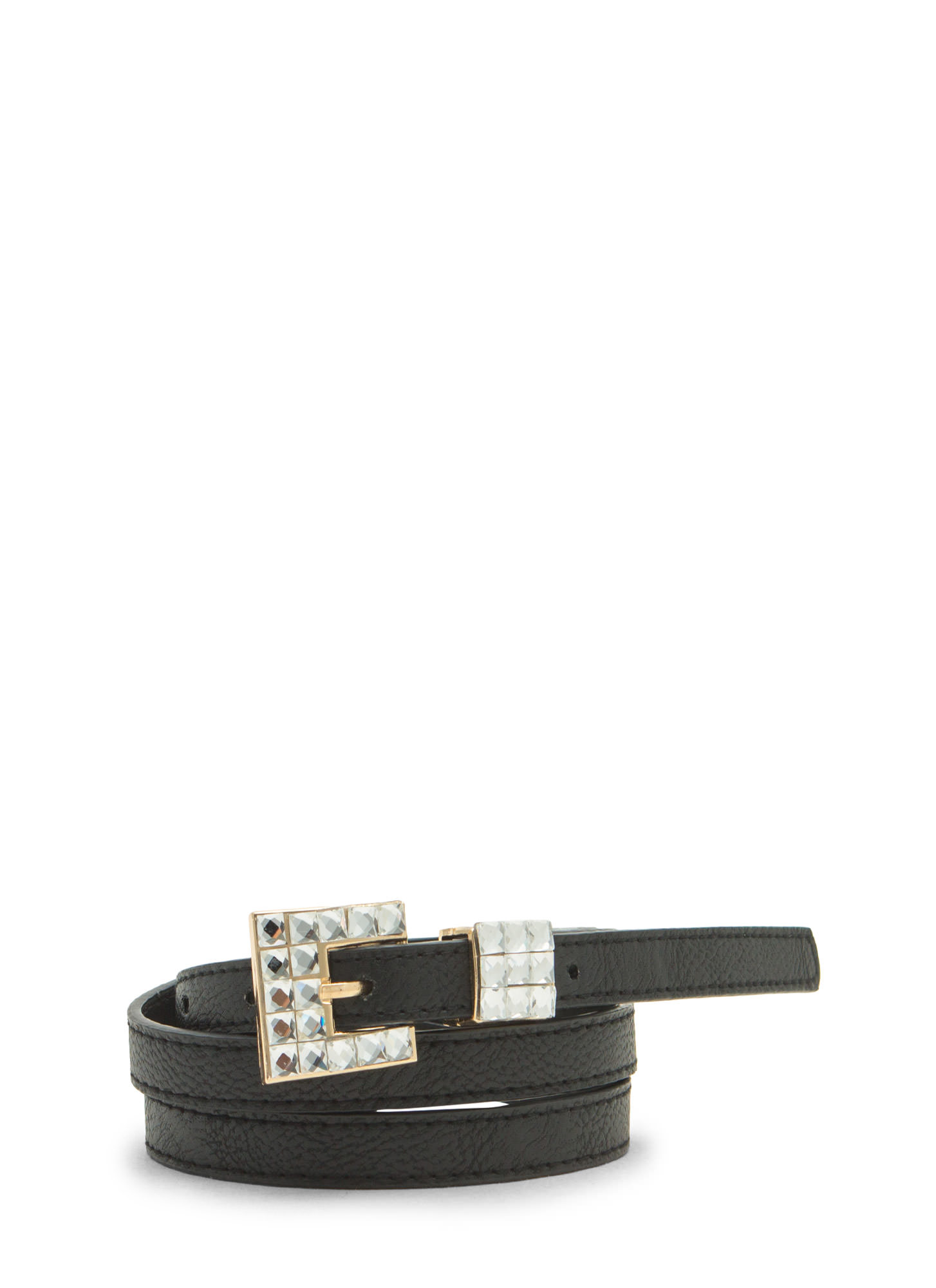Cubist Jewels Skinny Belt BLACKCLEAR