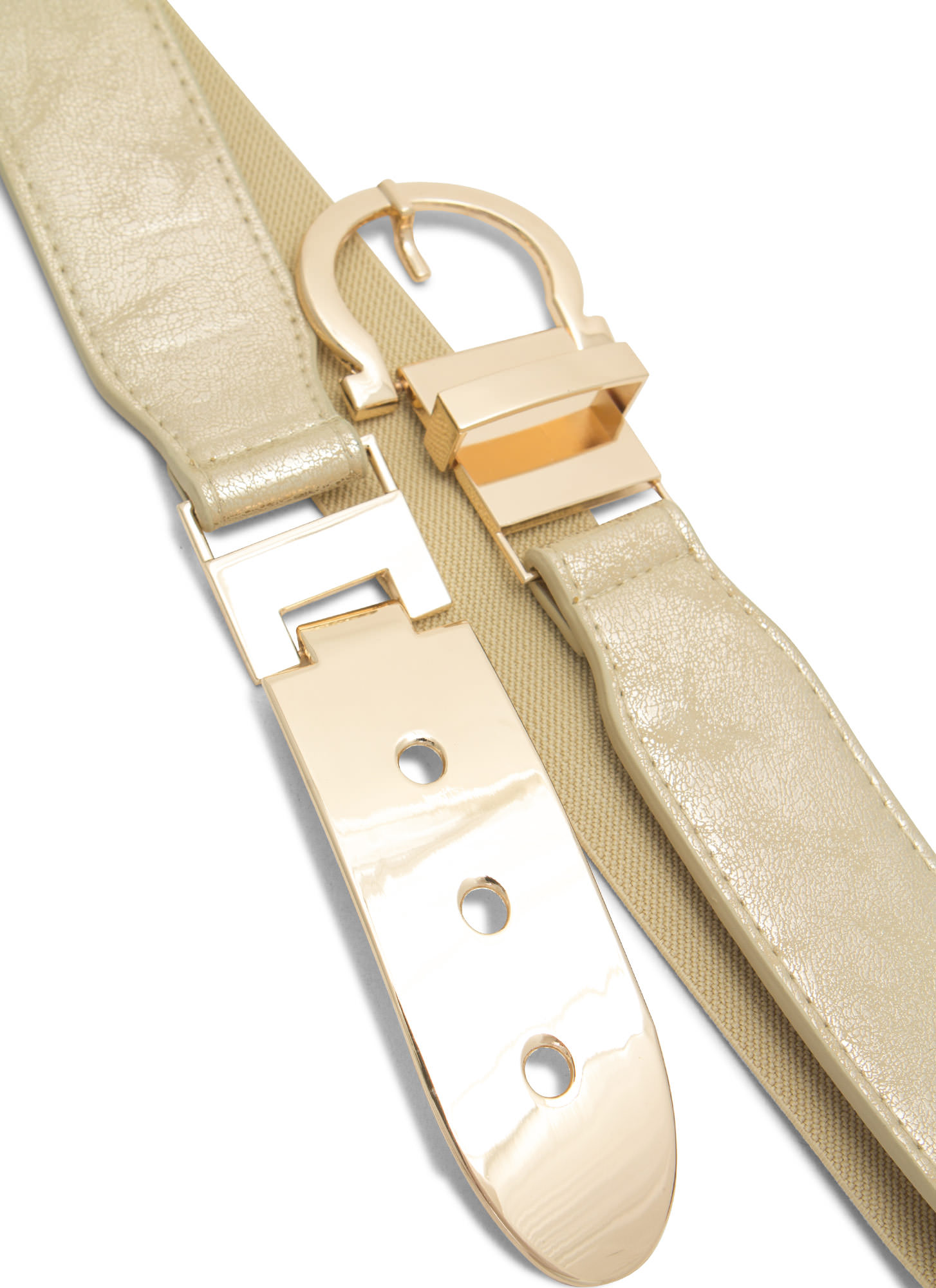 Buckle Up Metal Plate Belt BEIGEGOLD