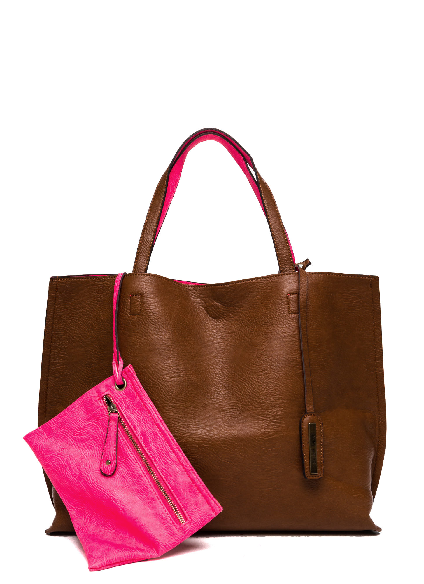 Street Level Two-Tone Reversible Tote Bag BROWNPINK