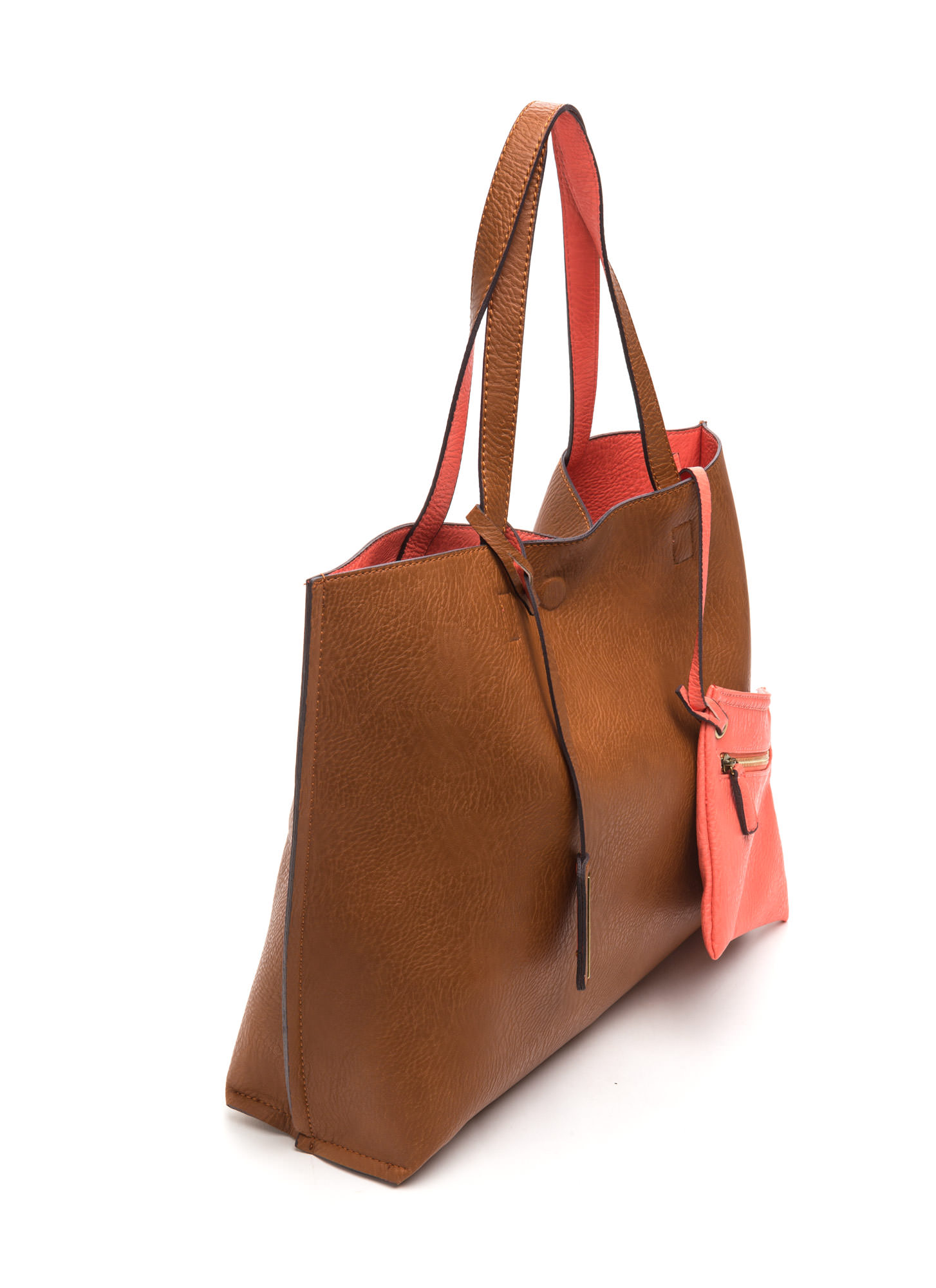 STREET LEVEL Office Chic Reversible Tote BROWNSALMON