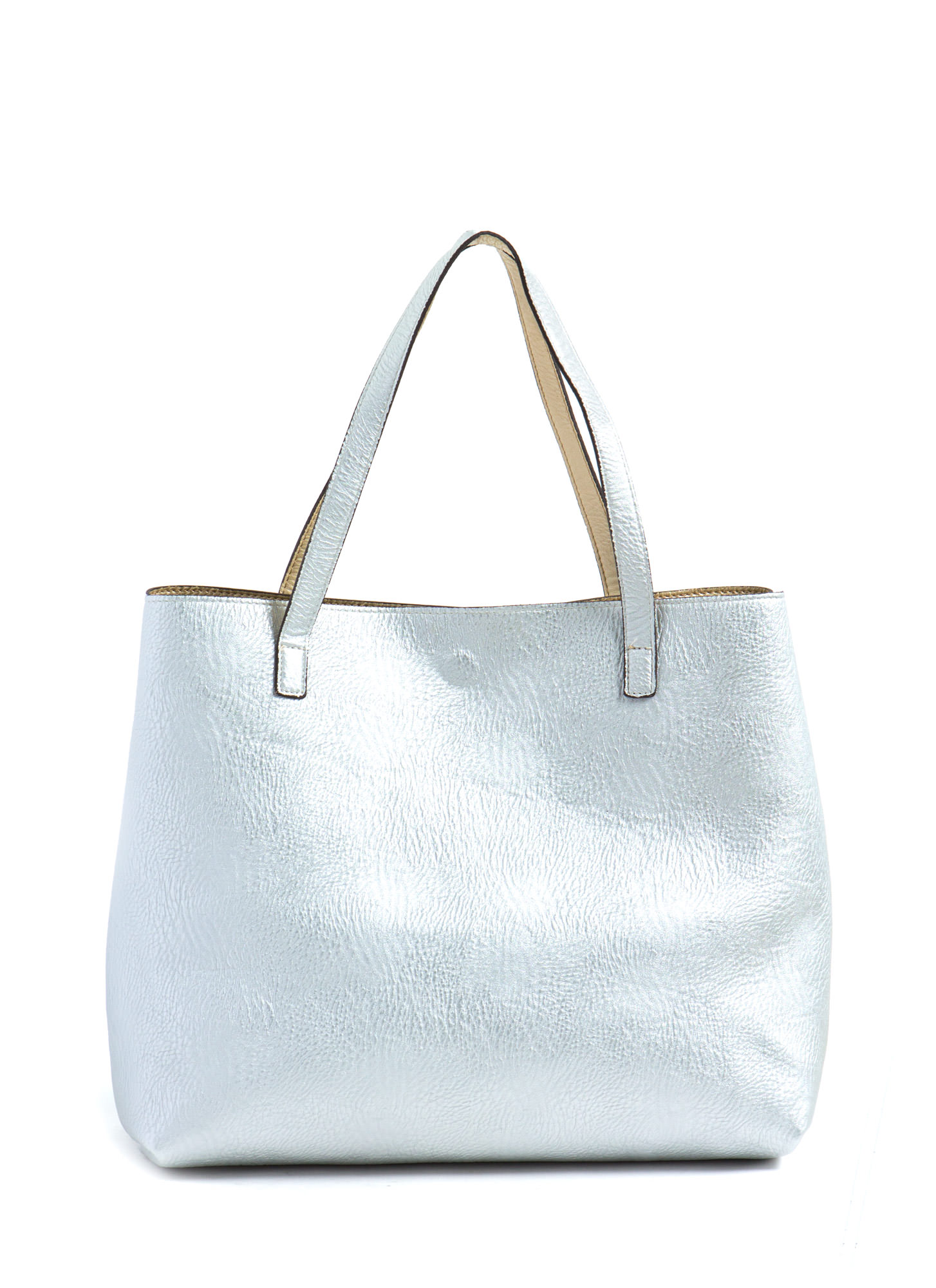 Street Level Two-Tone Reversible Tote Bag GOLDSILVER