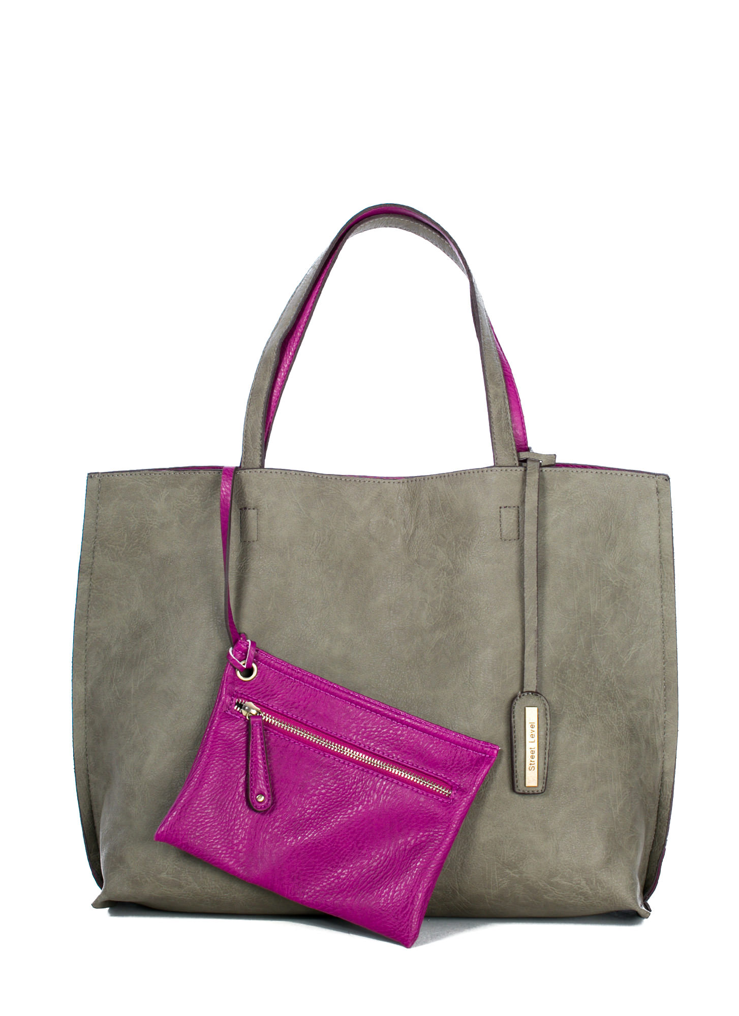Street Level Two-Tone Reversible Tote Bag GREY