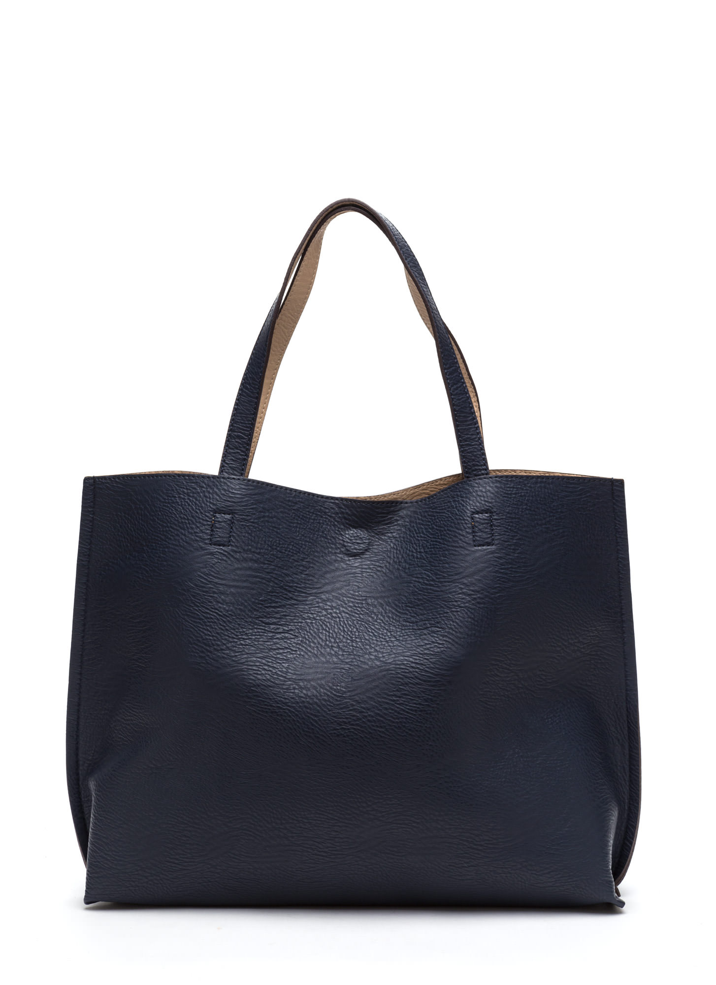 Street Level Two-Tone Reversible Tote Bag NAVYTAUPE