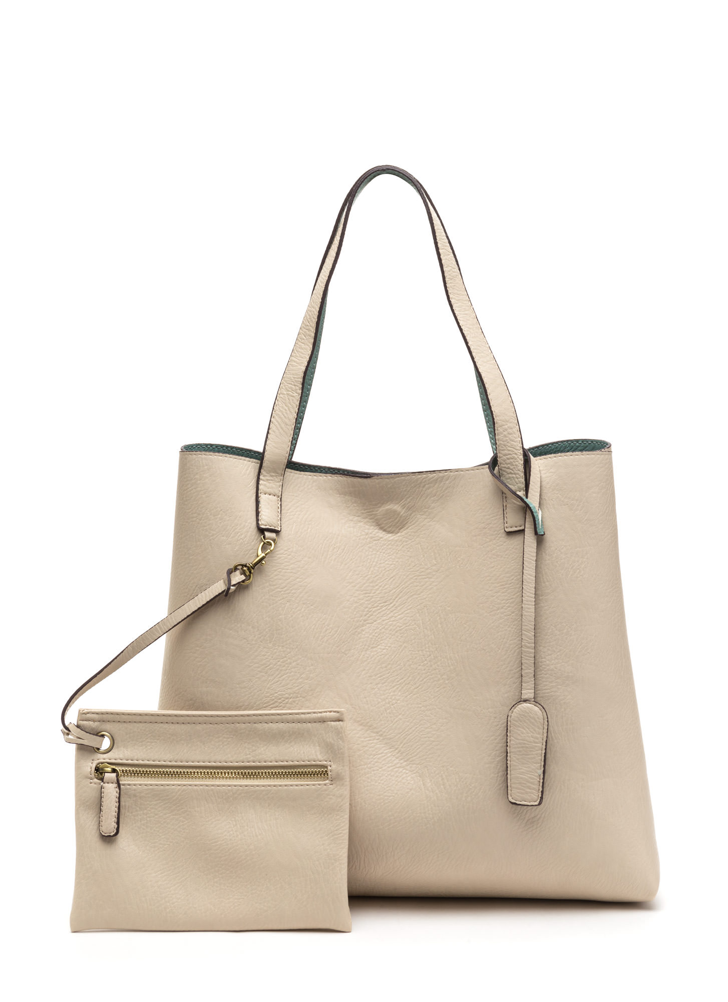 STREET LEVEL Office Chic Reversible Tote SAGEIVORY