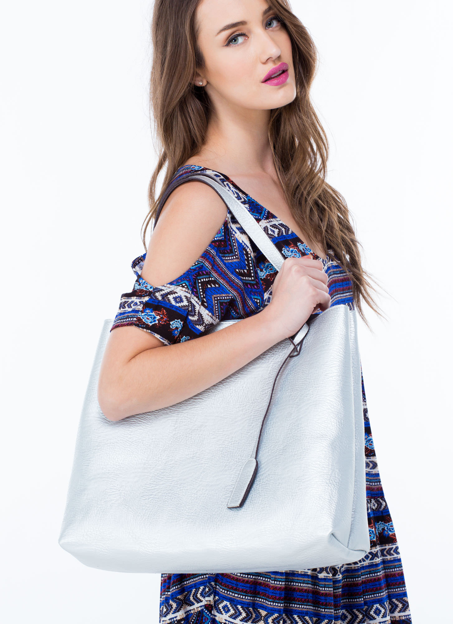 STREET LEVEL Office Chic Reversible Tote TAUPENAVY