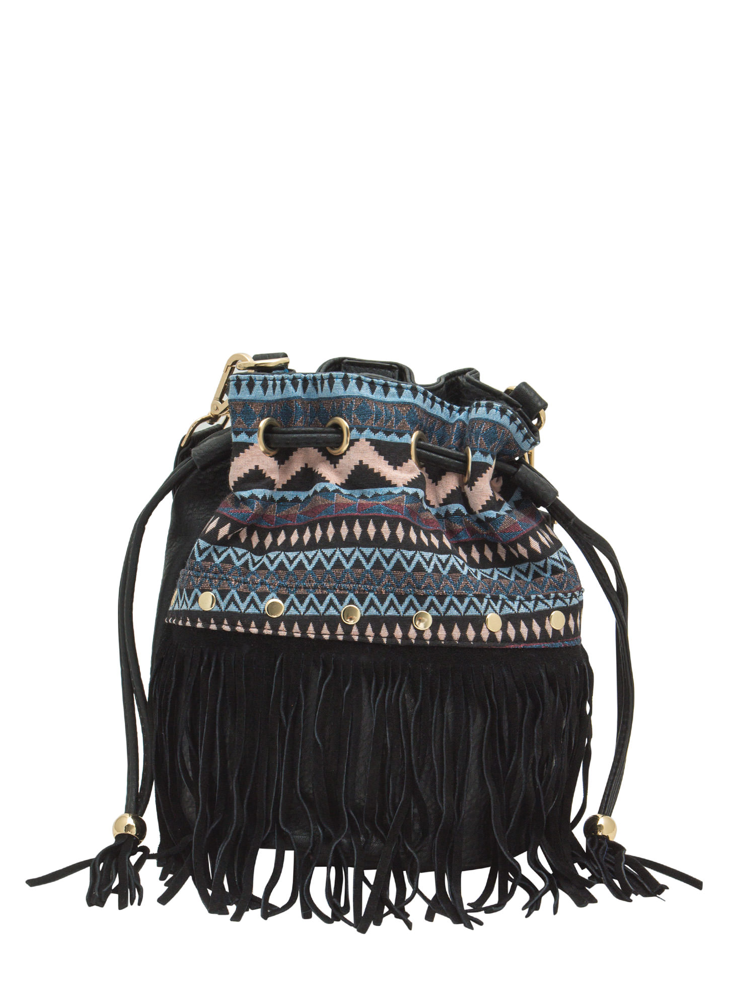 Tribal Tapestry Fringed Bucket Bag BLACK