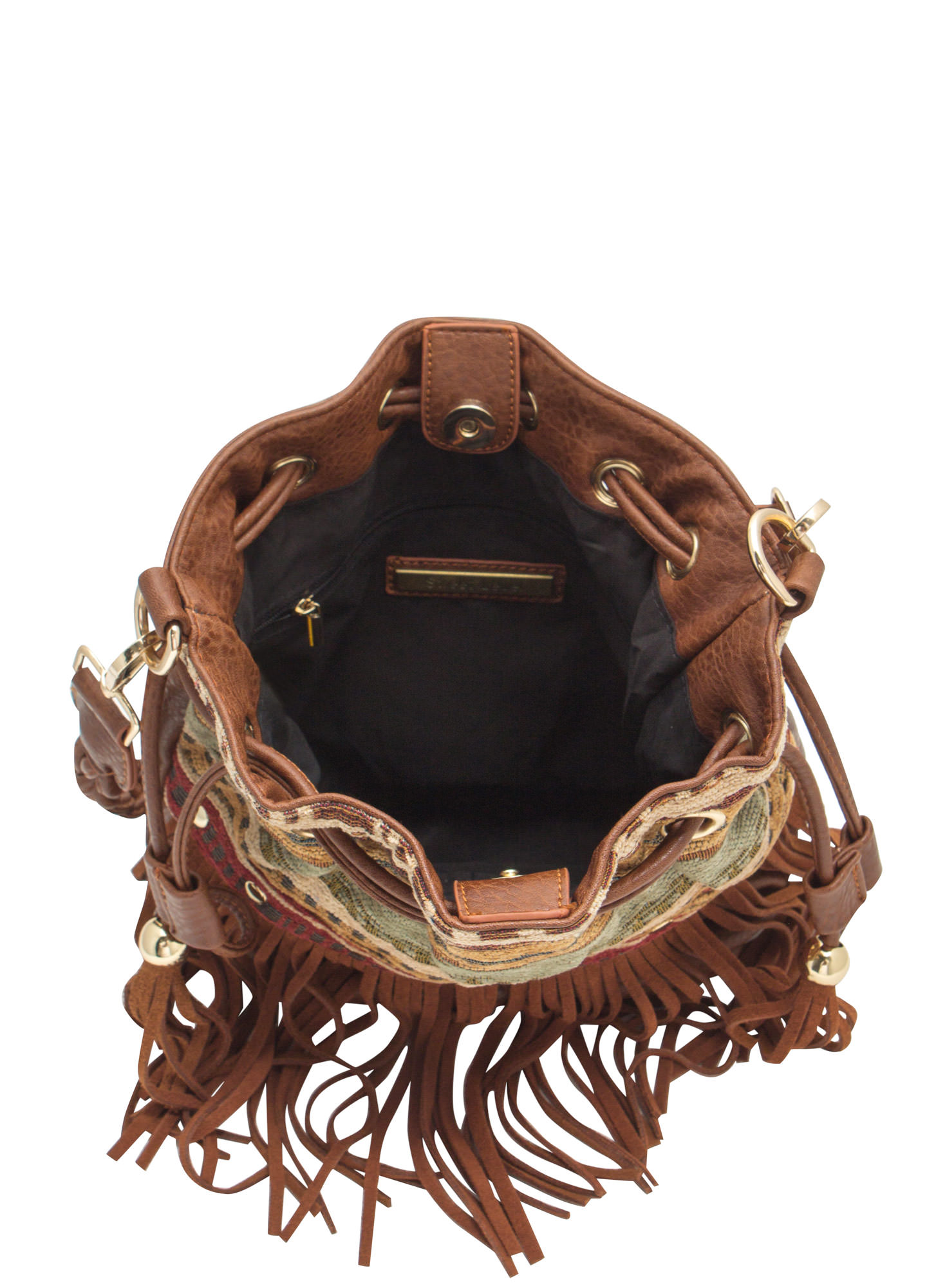 Tribal Tapestry Fringed Bucket Bag BROWN
