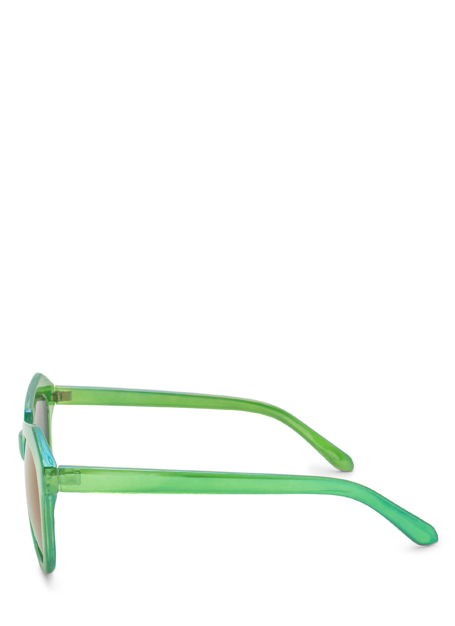 Angled Look Mirrored Sunglasses GREEN
