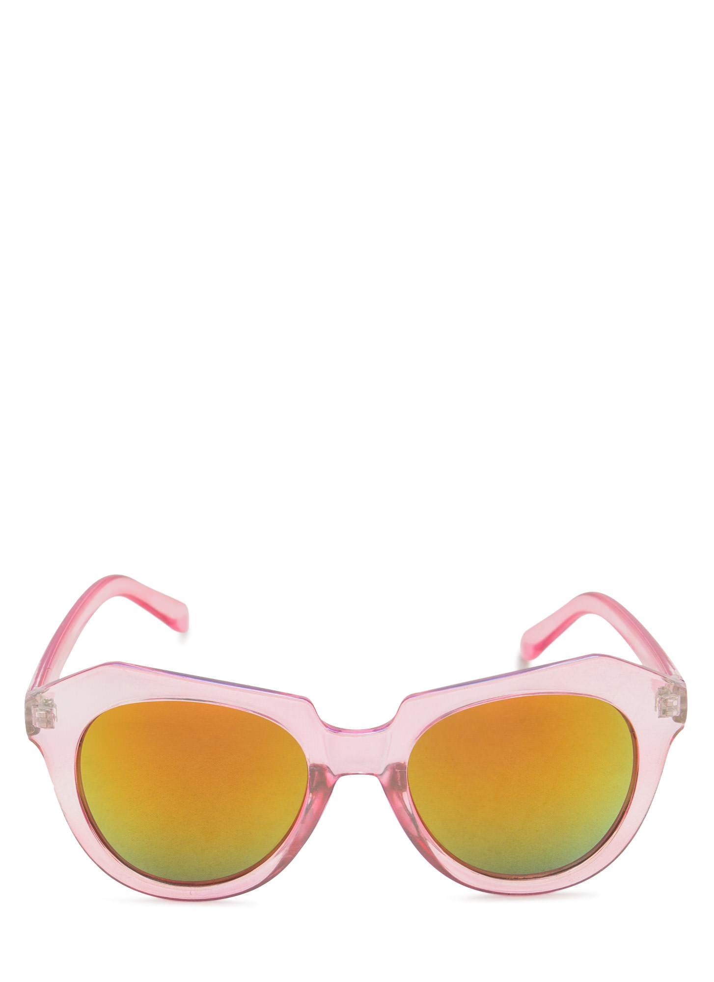 Angled Look Mirrored Sunglasses LTPINK