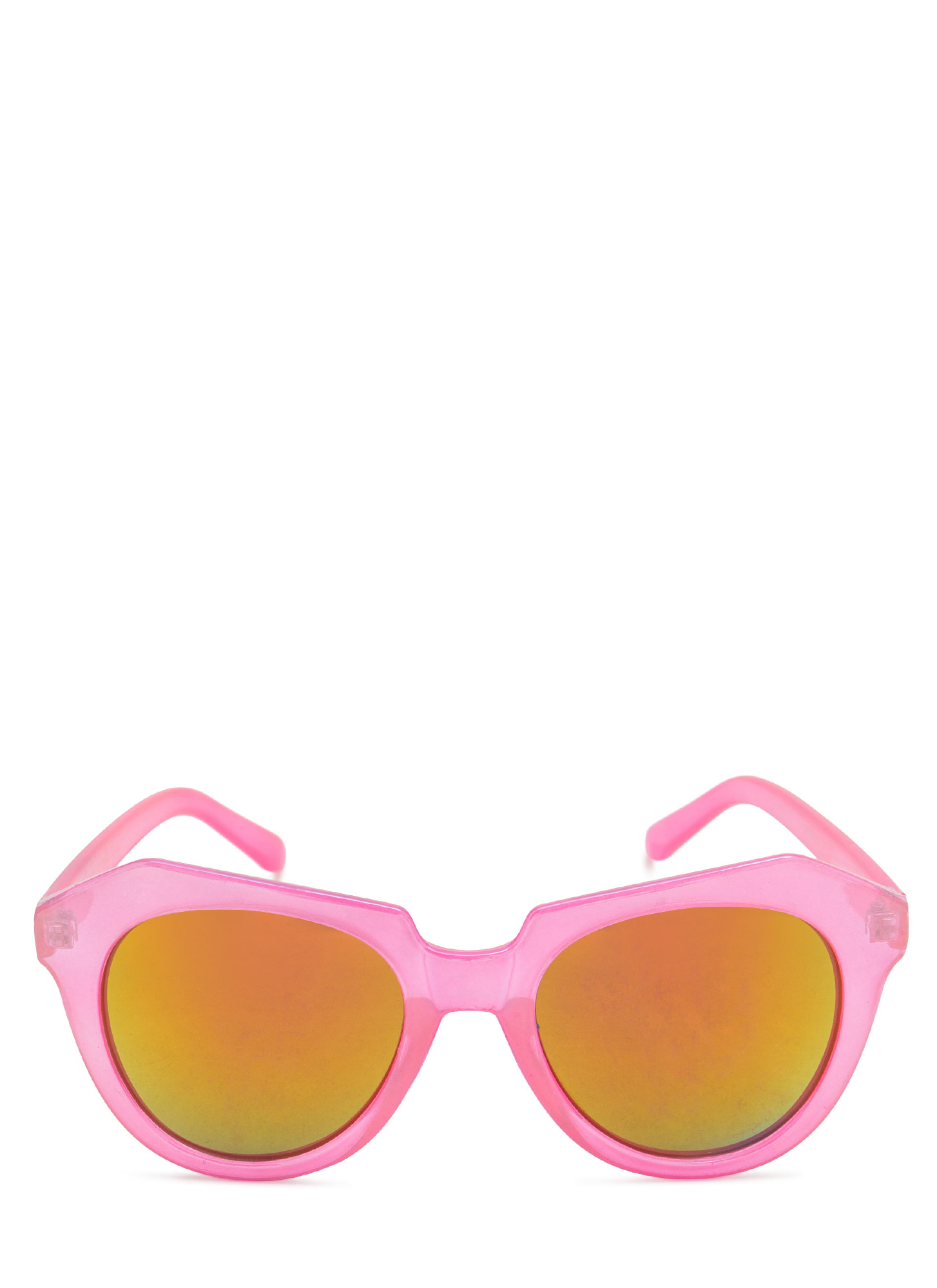 Angled Look Mirrored Sunglasses PINK
