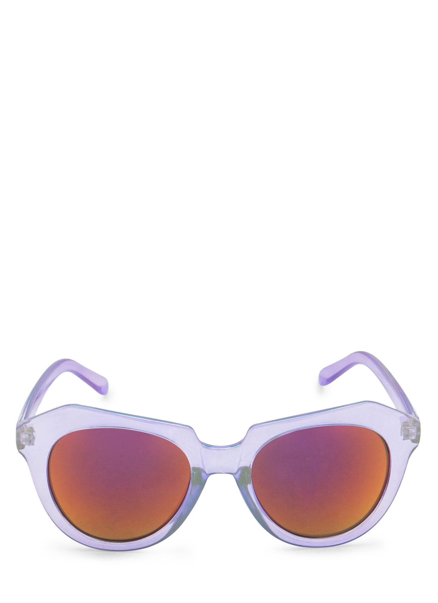 Angled Look Mirrored Sunglasses PURPLE