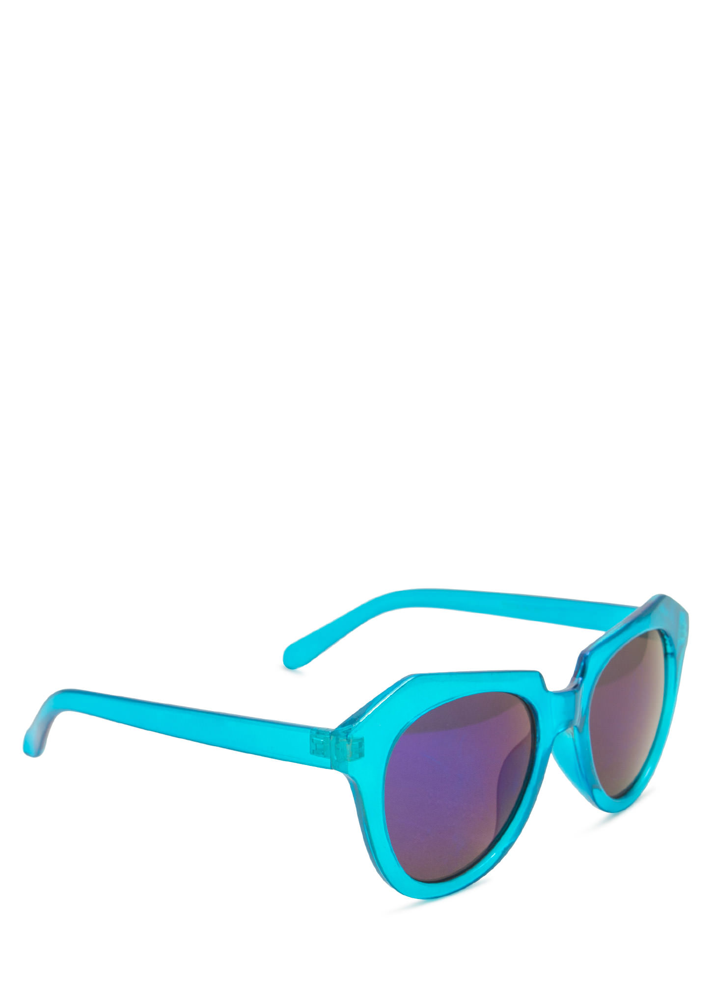 Angled Look Mirrored Sunglasses TEAL